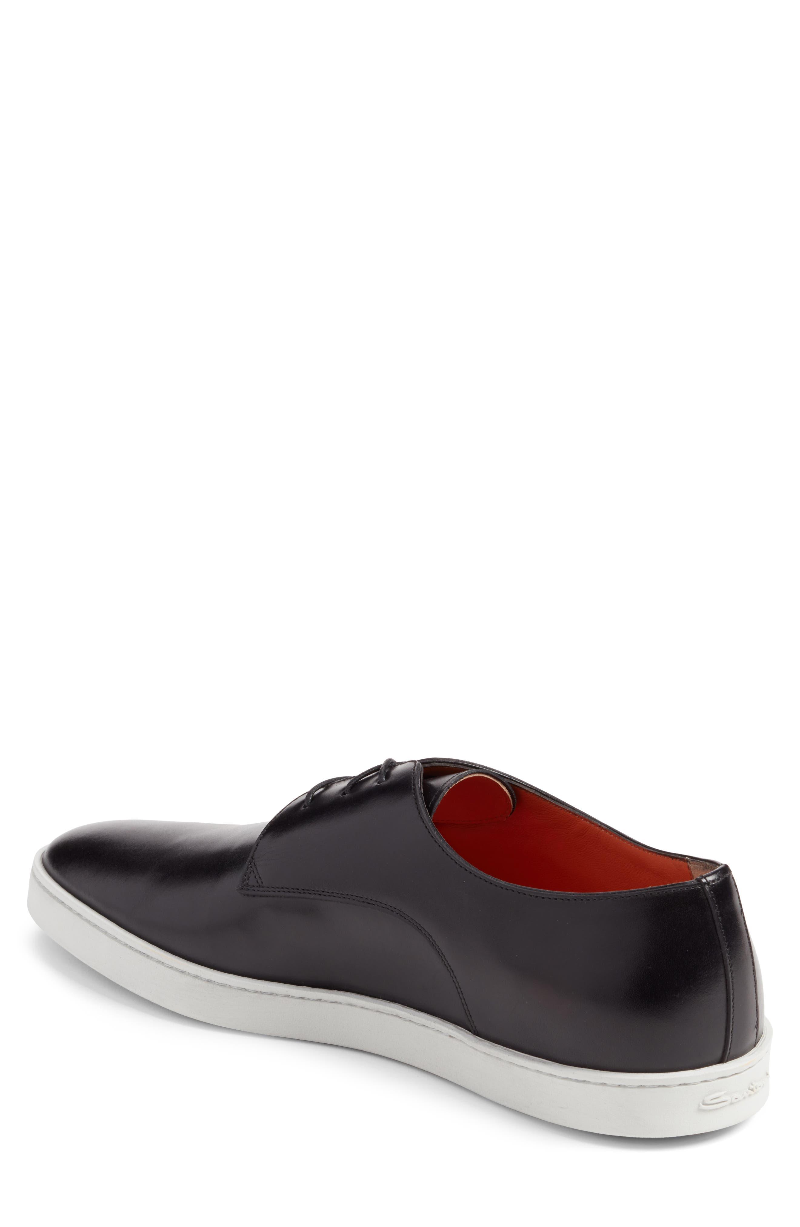 SANTONI, Doyle Sneaker, Alternate thumbnail 2, color, BLACK LEATHER
