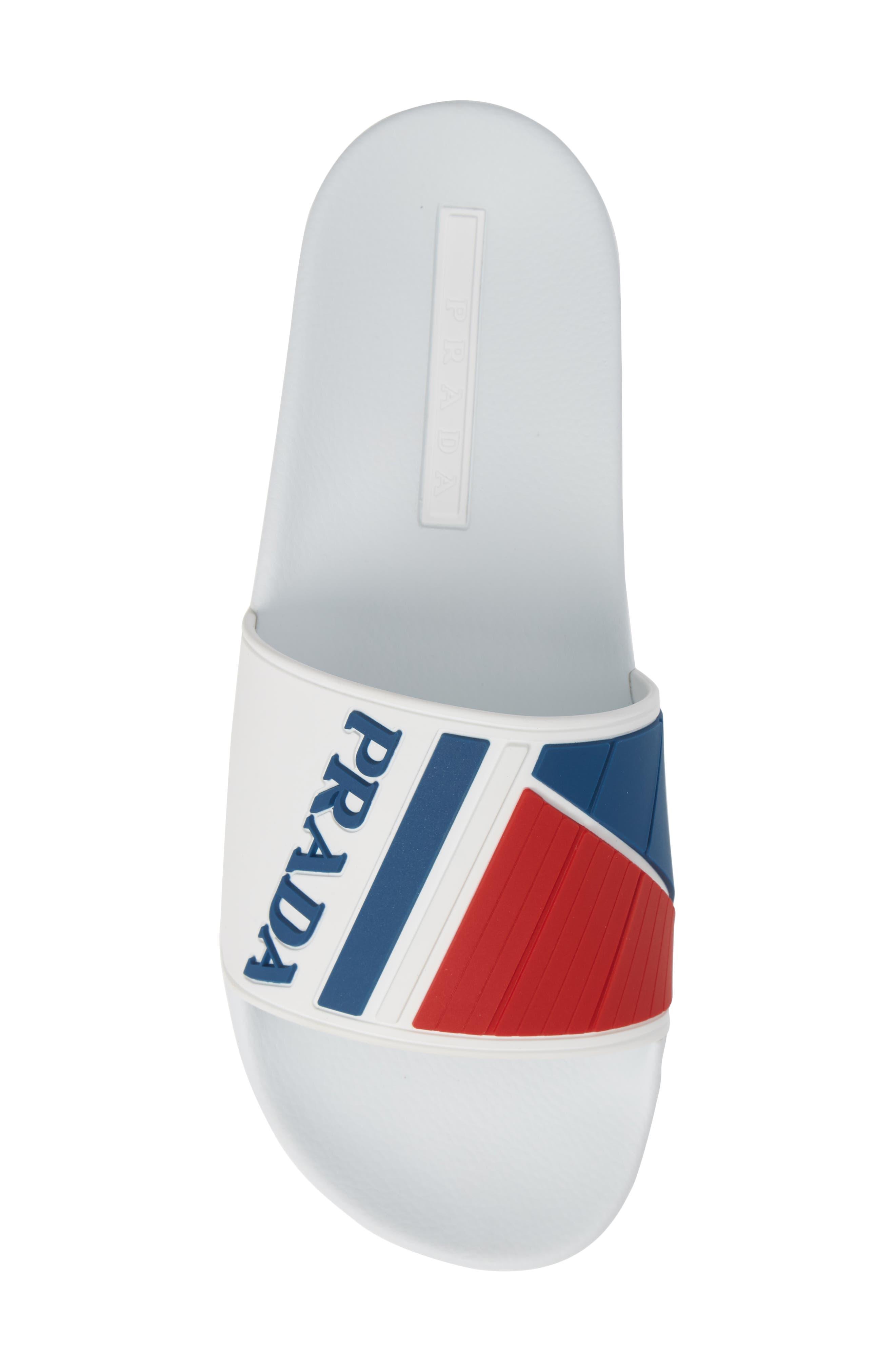 PRADA, Linea Rossa Logo Slide Sandal, Alternate thumbnail 5, color, WHITE/ BLUE