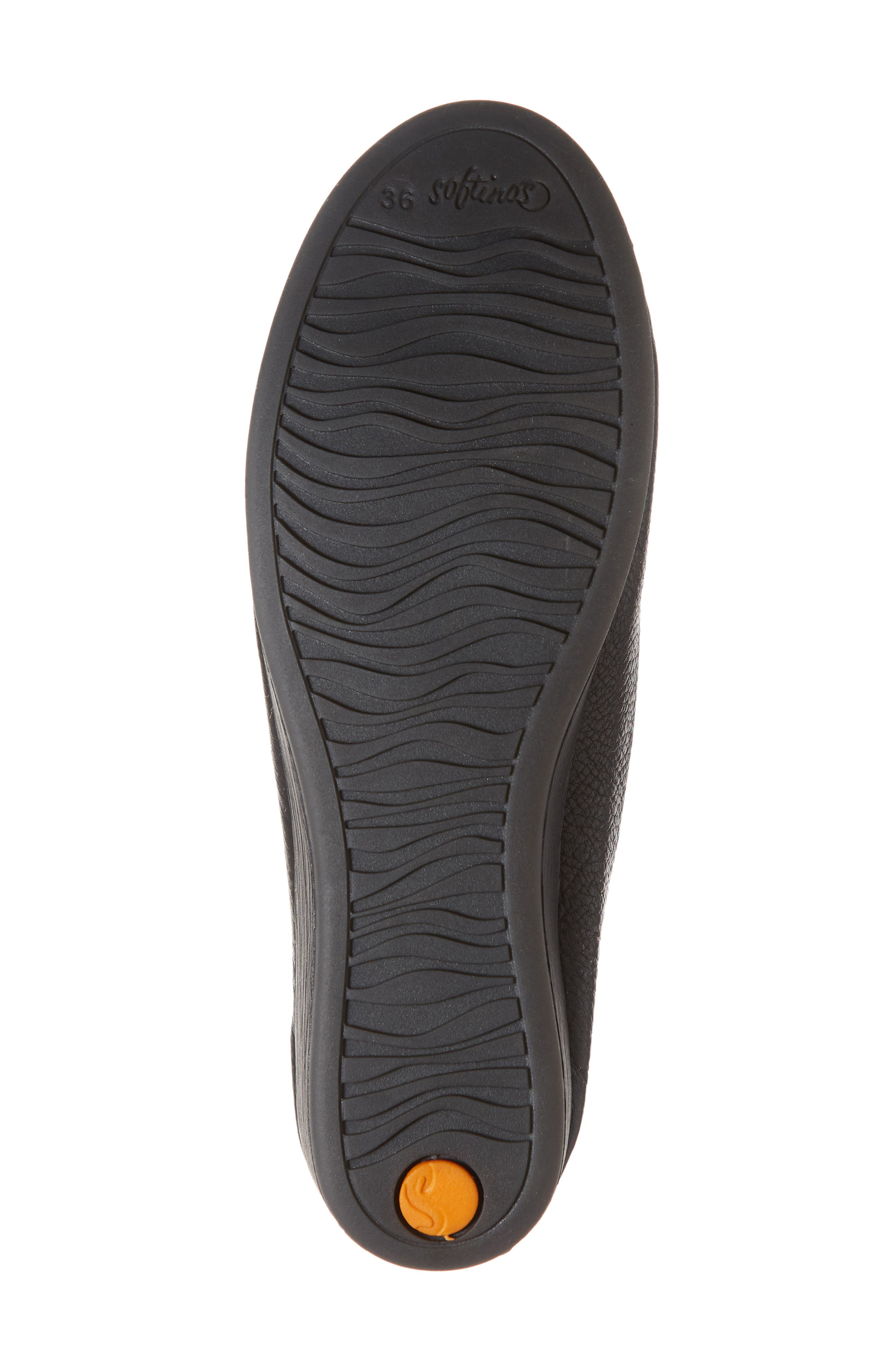 SOFTINOS BY FLY LONDON, Asa Soft Flat, Alternate thumbnail 6, color, BLACK SMOOTH LEATHER