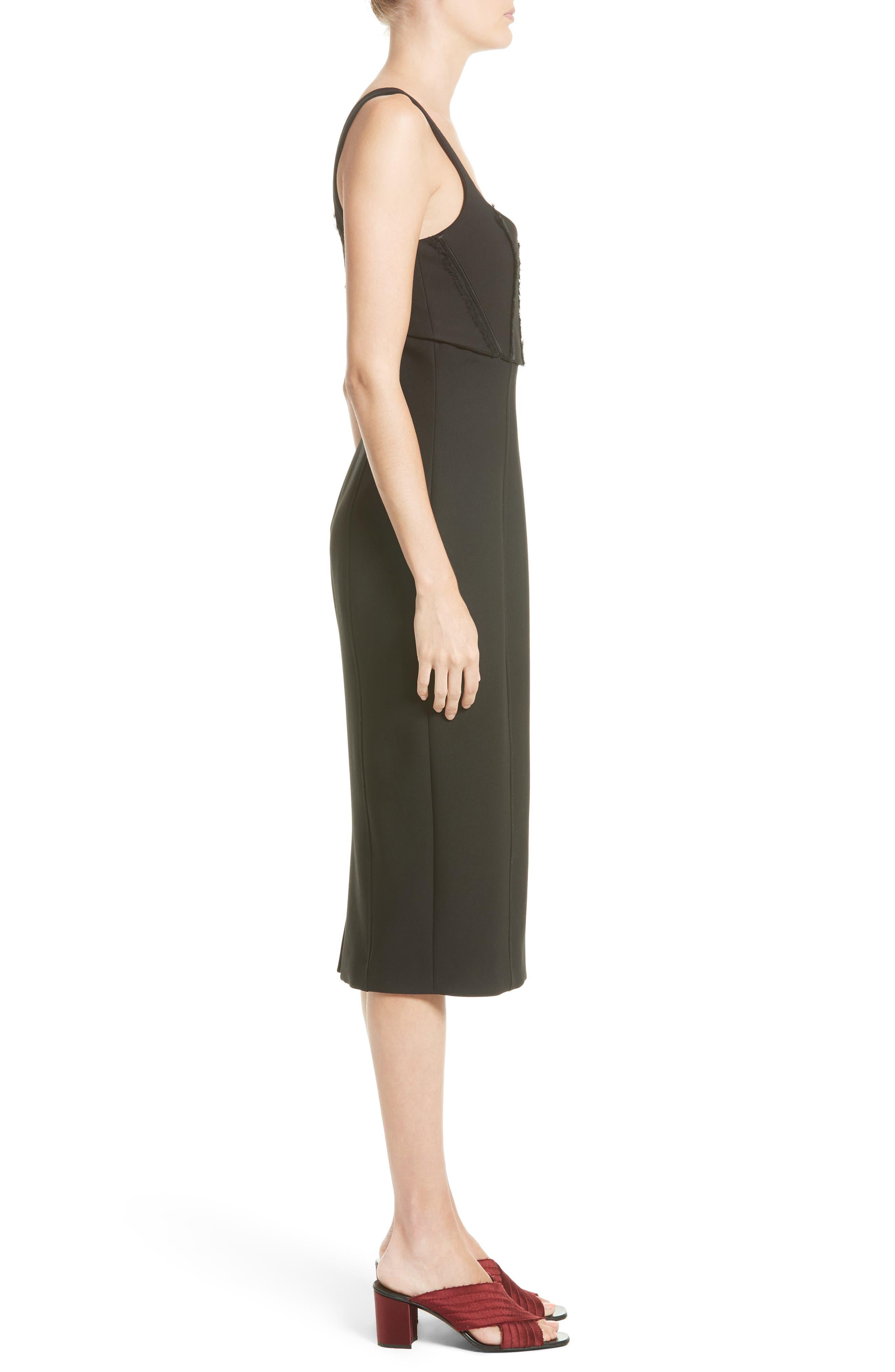 CINQ À SEPT, Ellette Sheath Dress, Alternate thumbnail 3, color, 001