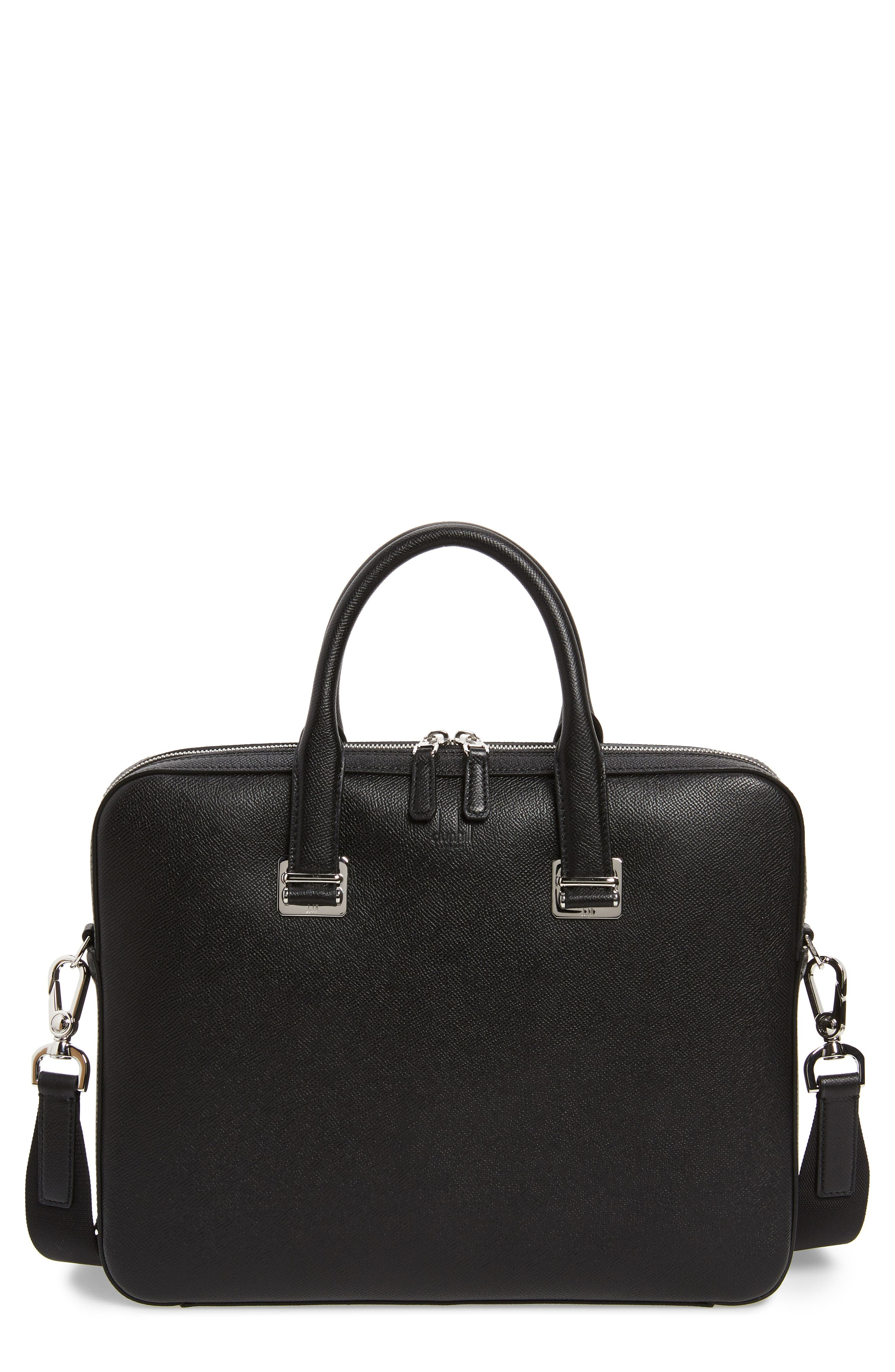 DUNHILL, Cadogan Leather Single Document Case, Main thumbnail 1, color, BLACK
