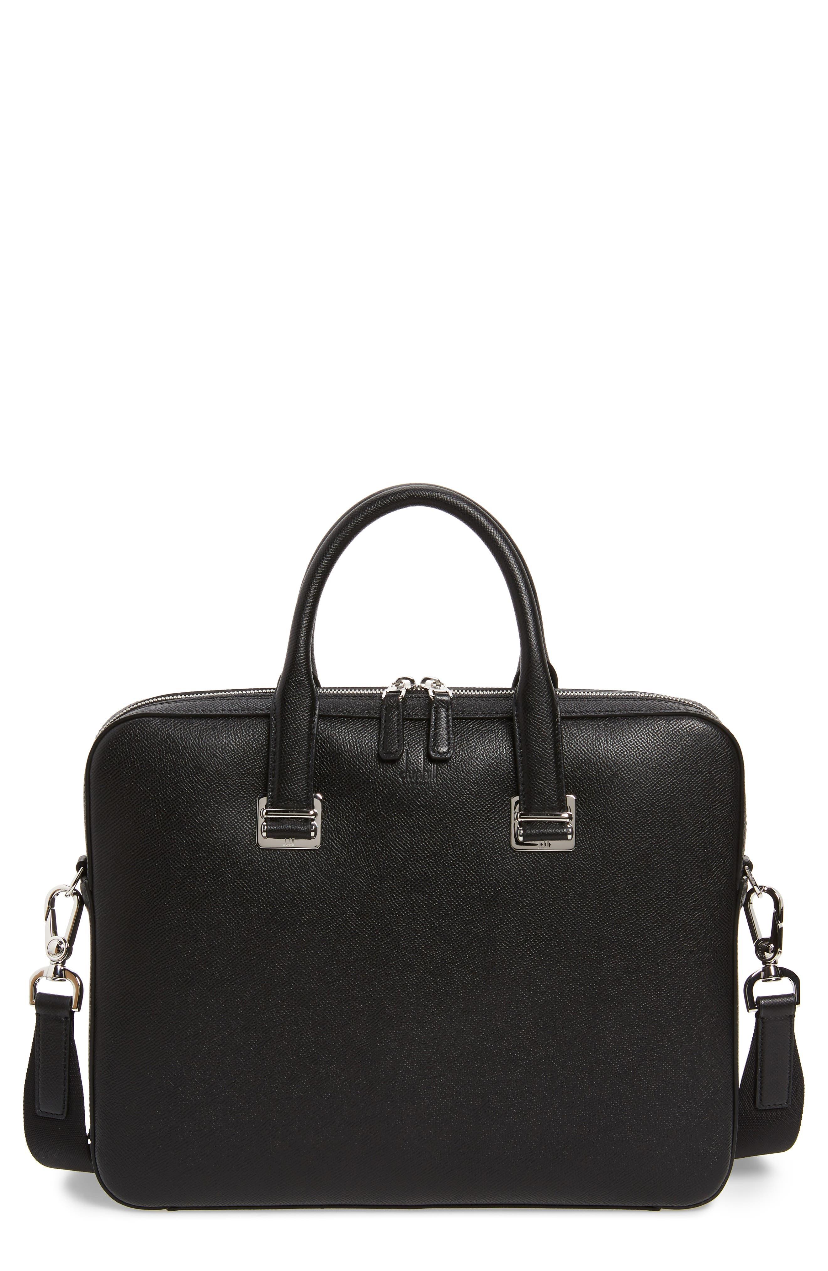 DUNHILL Cadogan Leather Single Document Case, Main, color, BLACK