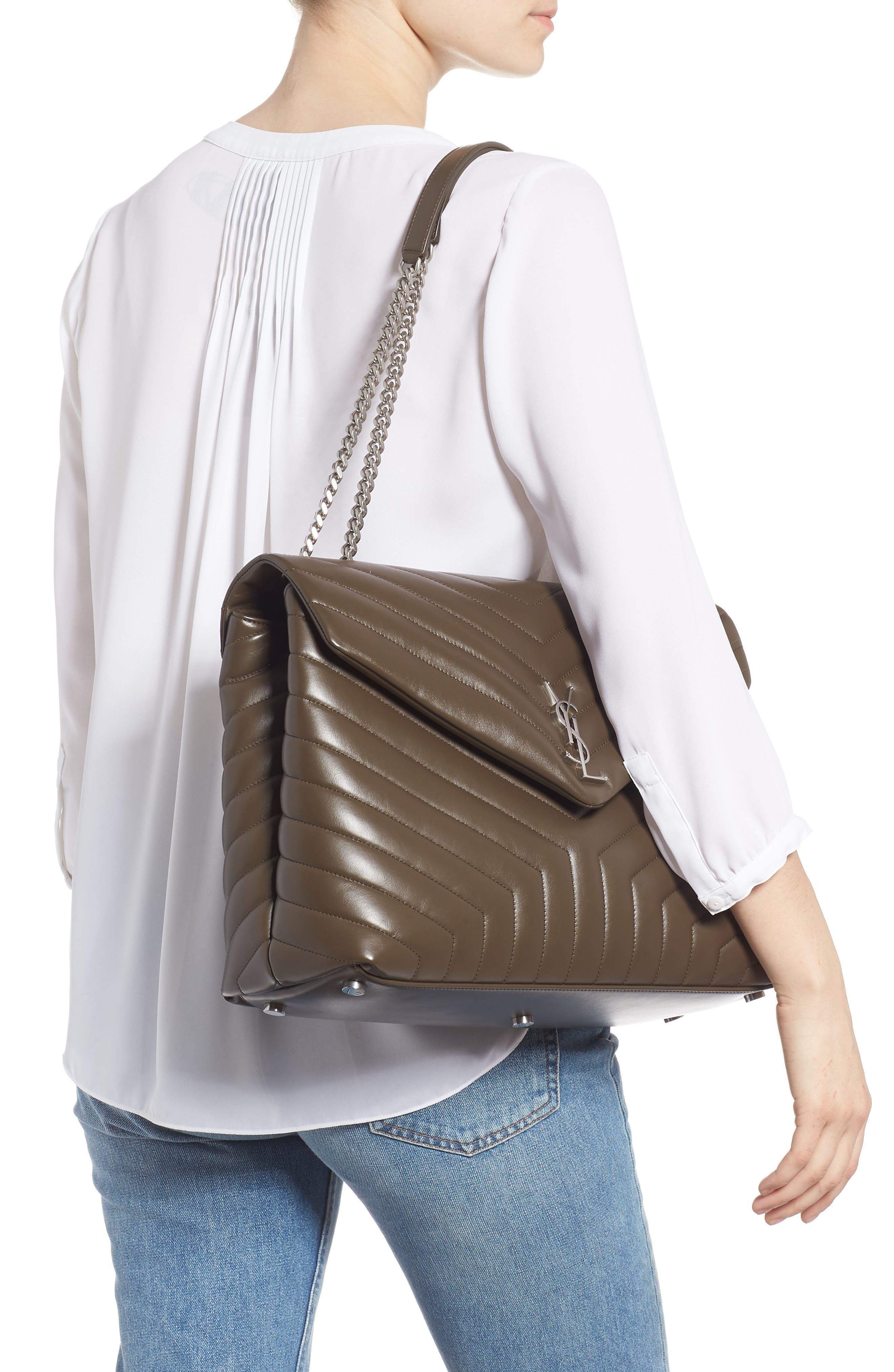 SAINT LAURENT, Large Loulou Matelassé Leather Shoulder Bag, Alternate thumbnail 2, color, FAGGIO/ FAGGIO
