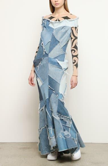 Denim Patchwork Off the Shoulder Mermaid Dress, video thumbnail