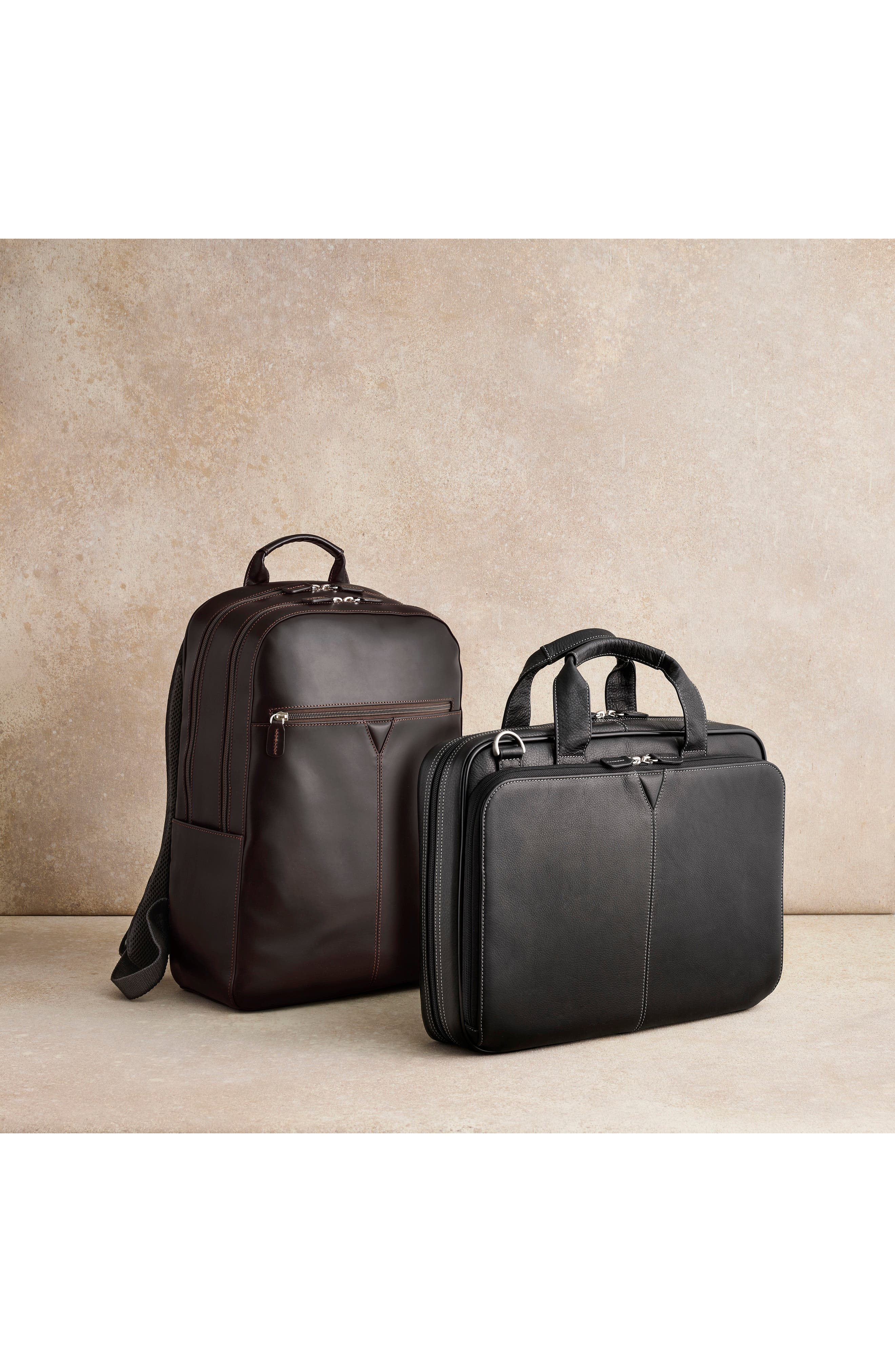 JOHNSTON & MURPHY, Leather Briefcase, Alternate thumbnail 4, color, BLACK
