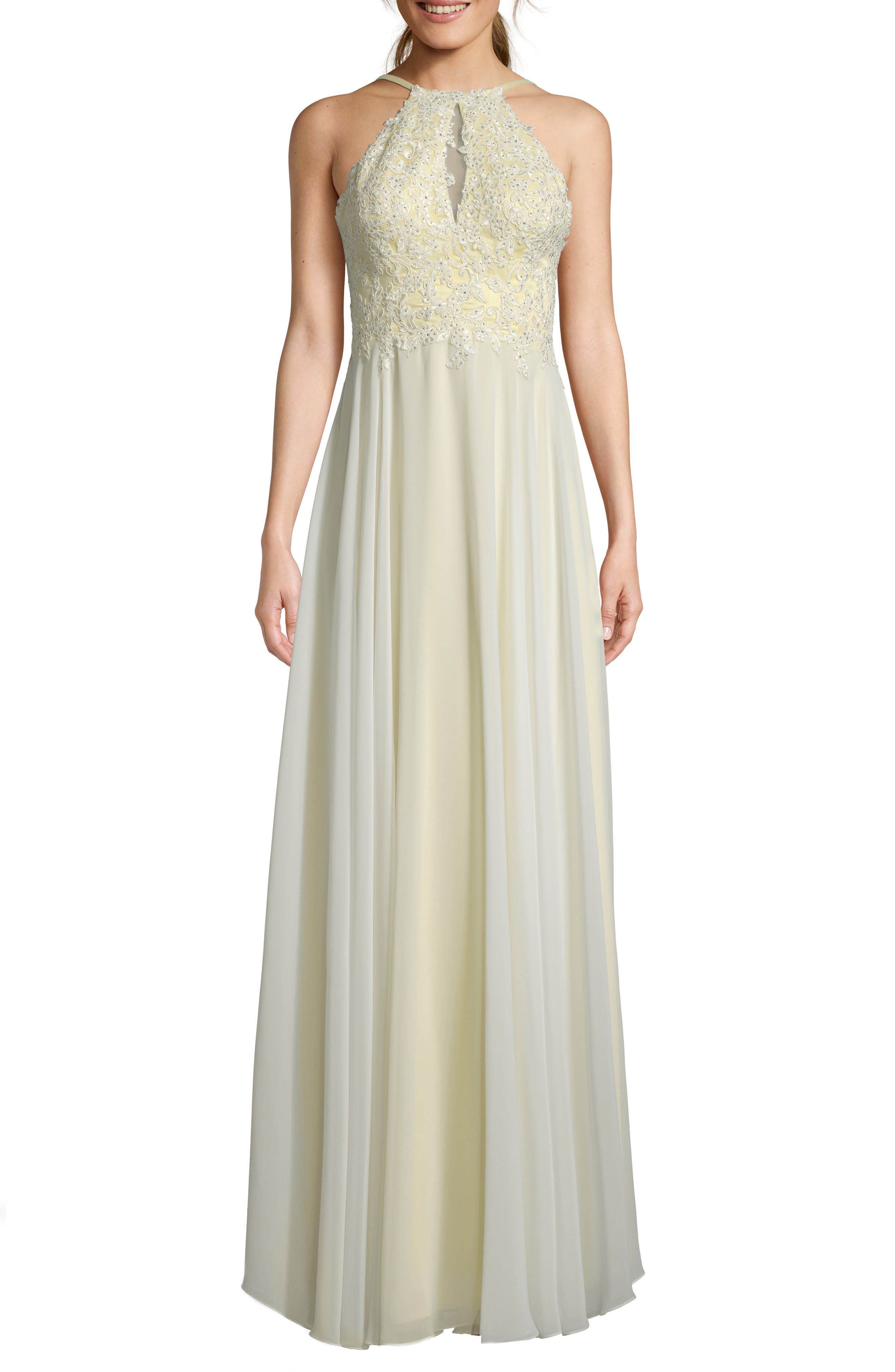 Xscape Beaded 3D Floral Lace Chiffon Evening Dress, Yellow