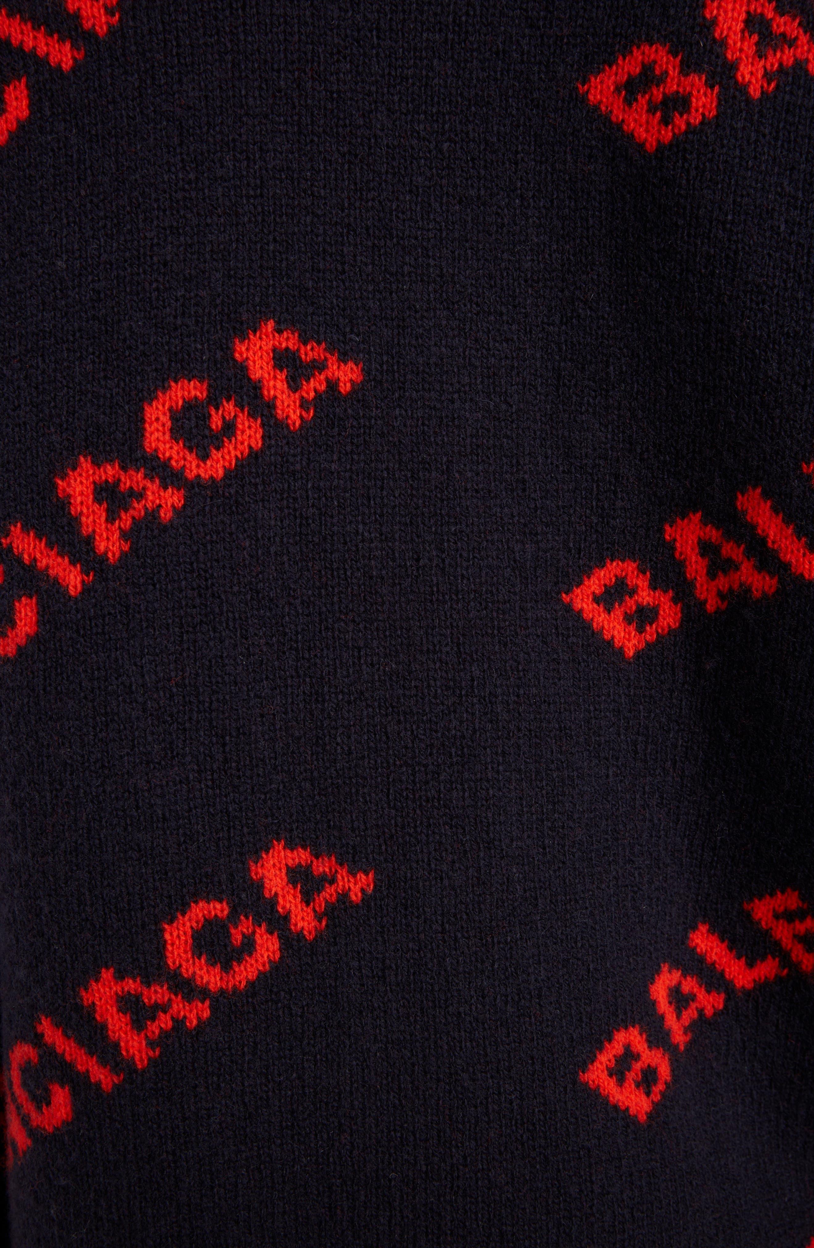 BALENCIAGA, Logo Jacquard Wool Blend Cardigan, Alternate thumbnail 5, color, NAVY/ ORANGE