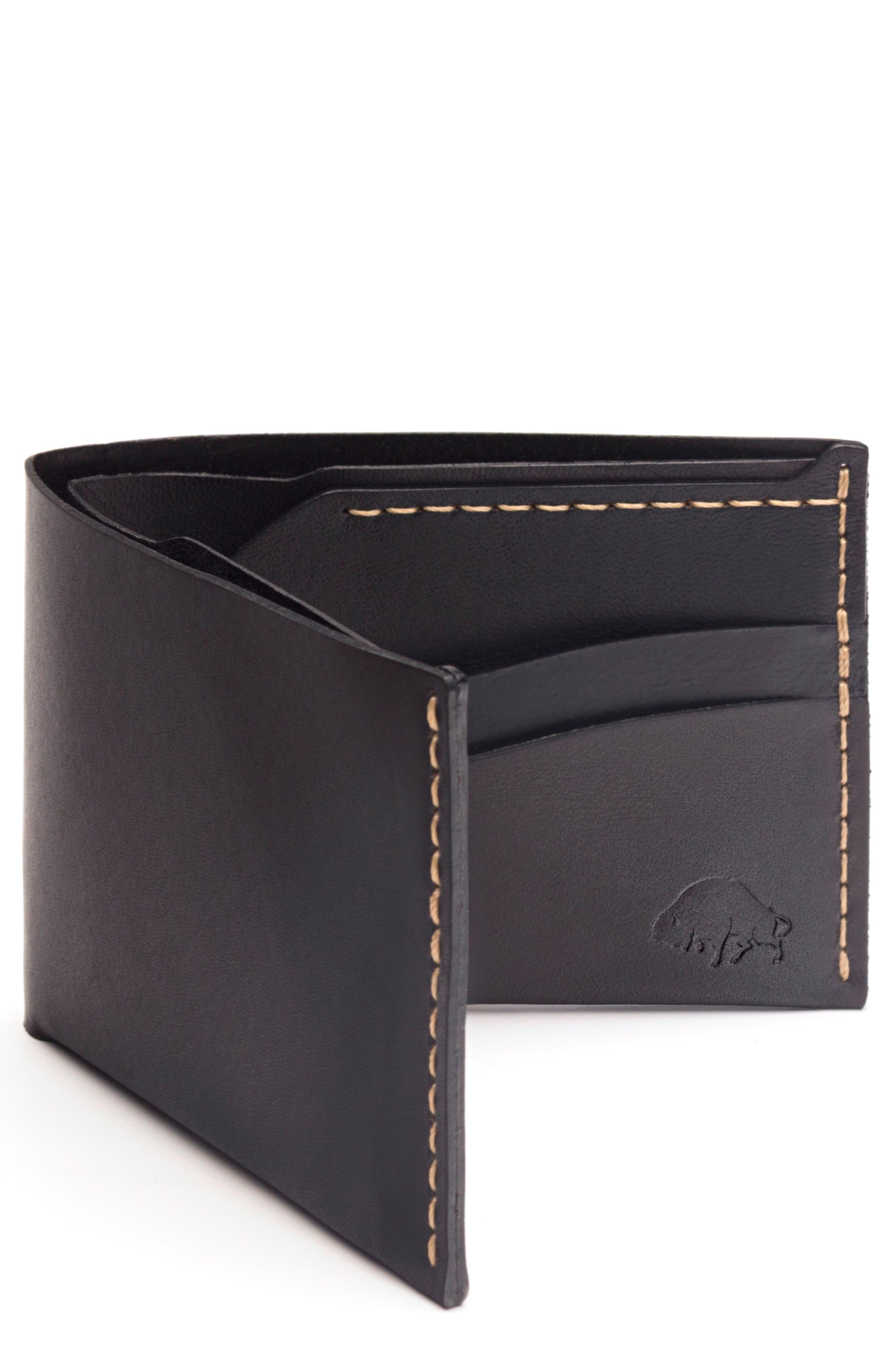 EZRA ARTHUR, No. 6 Leather Wallet, Main thumbnail 1, color, JET TOP STITCH