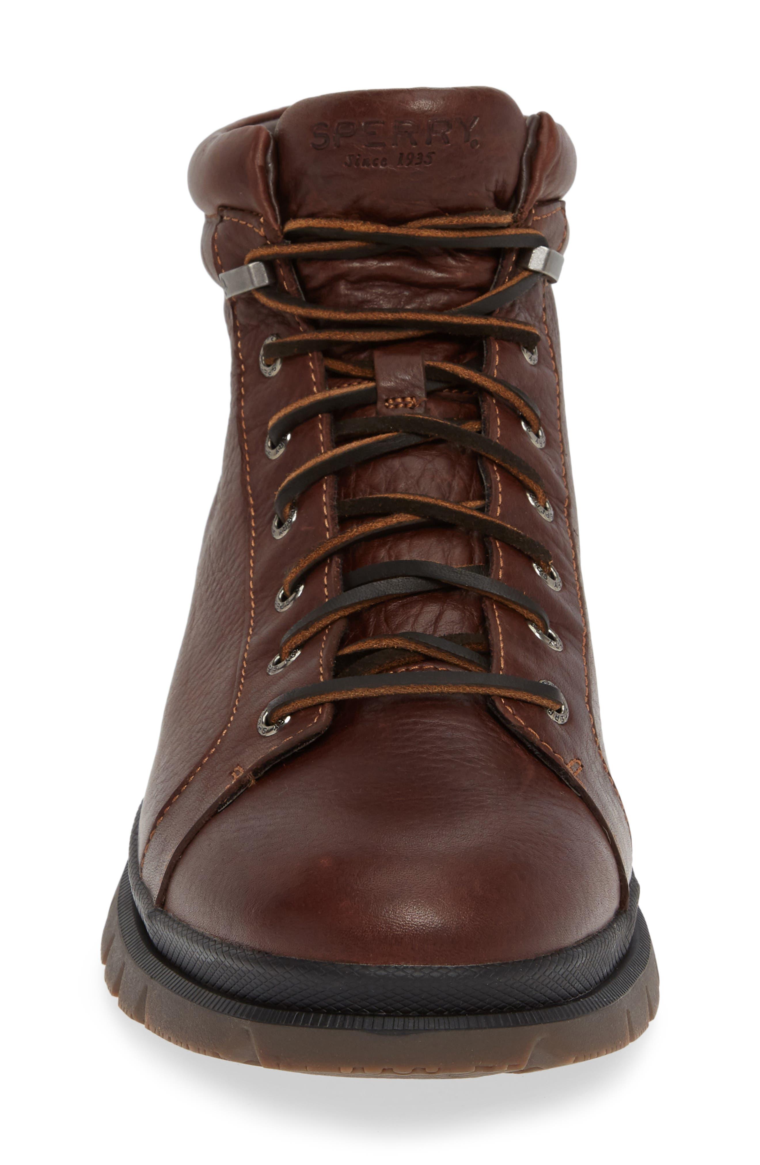 SPERRY, Watertown Waterproof Plain Toe Boot, Alternate thumbnail 4, color, DARK BROWN