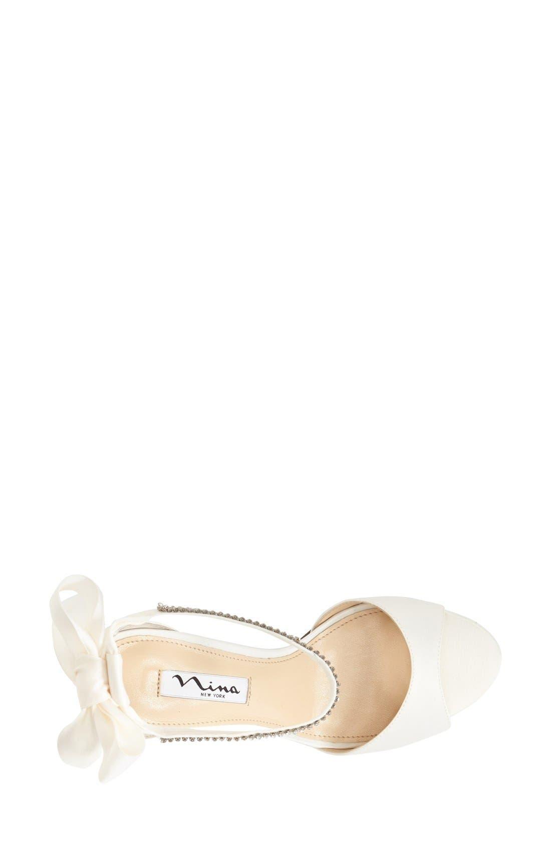 NINA, 'Vinnie' Crystal Embellished Ankle Strap Sandal, Alternate thumbnail 3, color, IVORY