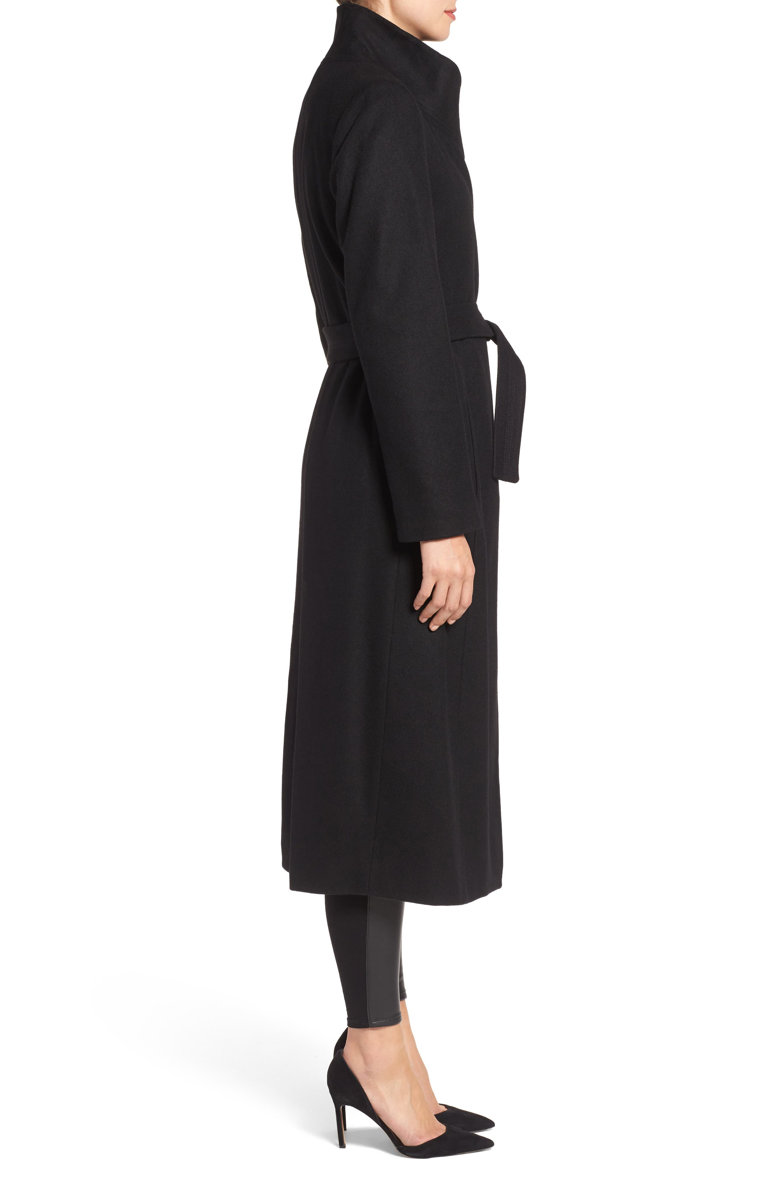 KENNETH COLE NEW YORK, Fencer Melton Wool Maxi Coat, Alternate thumbnail 4, color, 001