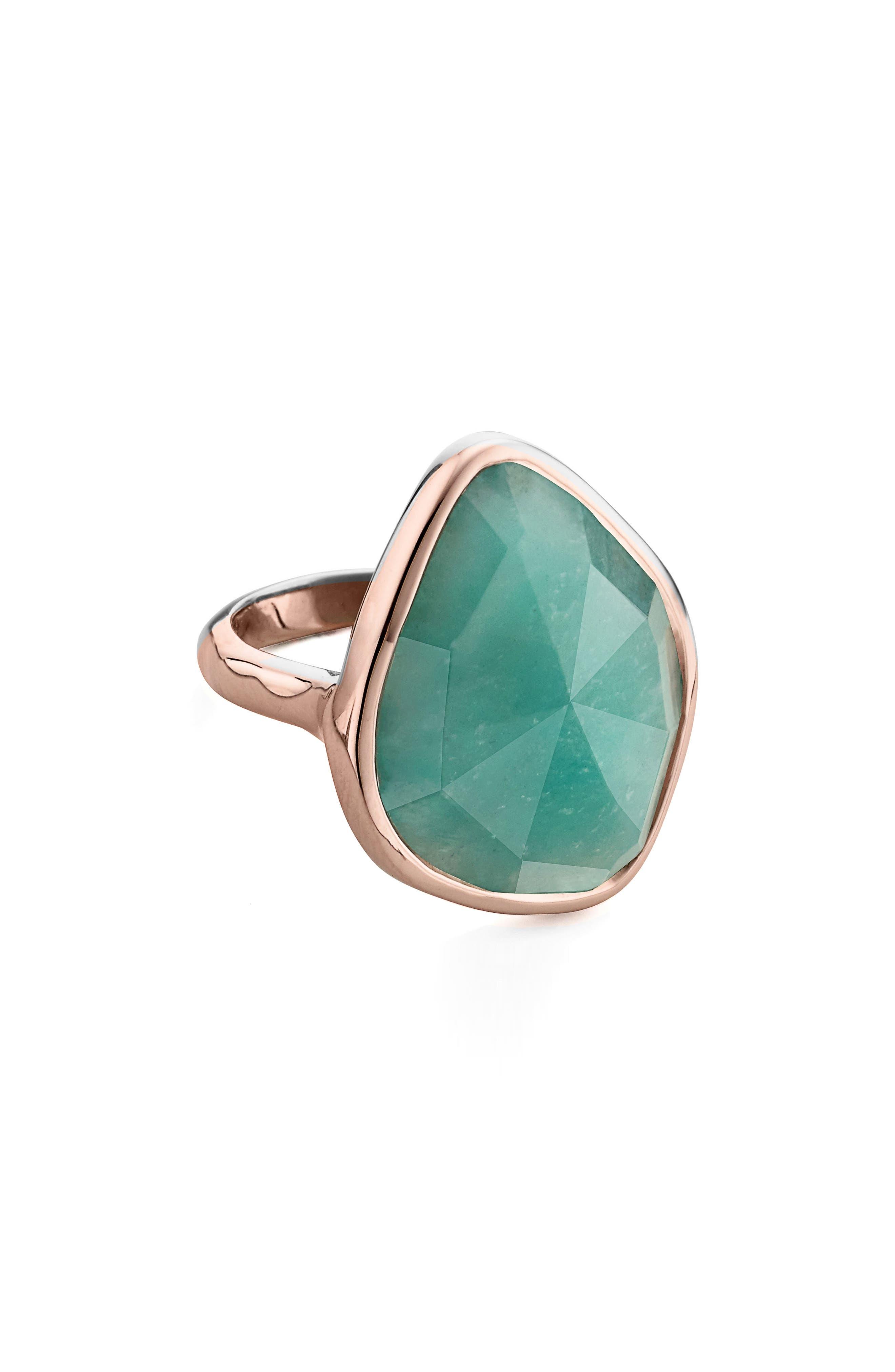 MONICA VINADER Siren Nugget Semiprecious Stone Cocktail Ring, Main, color, ROSE GOLD/ AMAZONITE