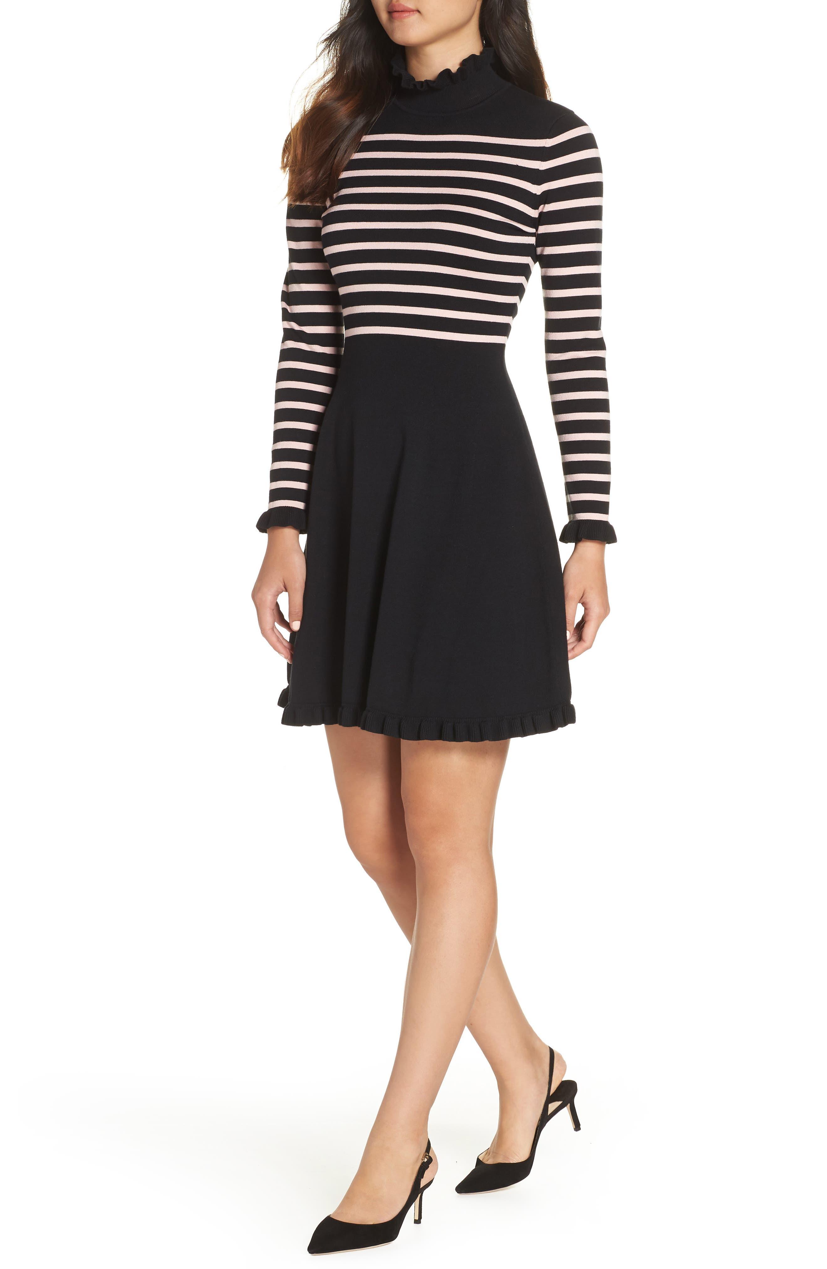 1901 Mock Neck Stripe Sweater Dress, Main, color, BLACK- PINK STRIPE