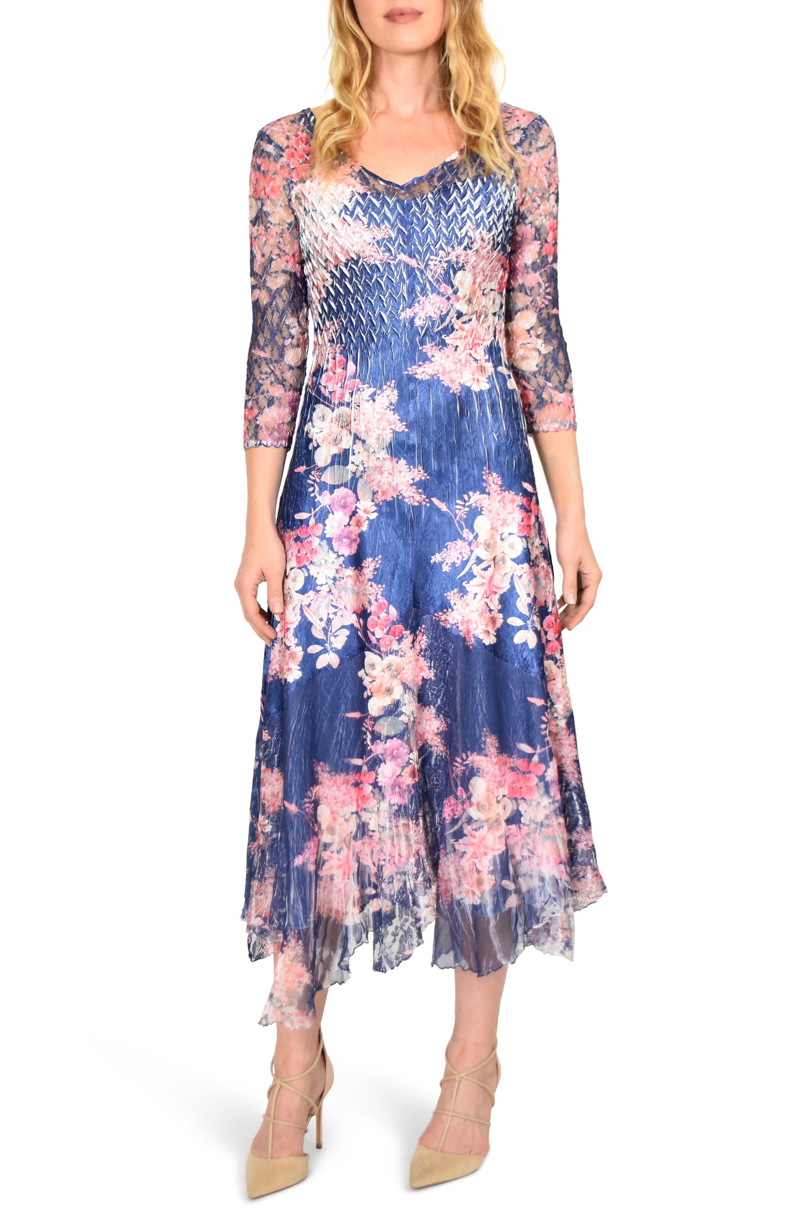 KOMAROV Asymmetrical Charmeuse & Chiffon Dress, Main, color, ENGLISH BLOSSOM