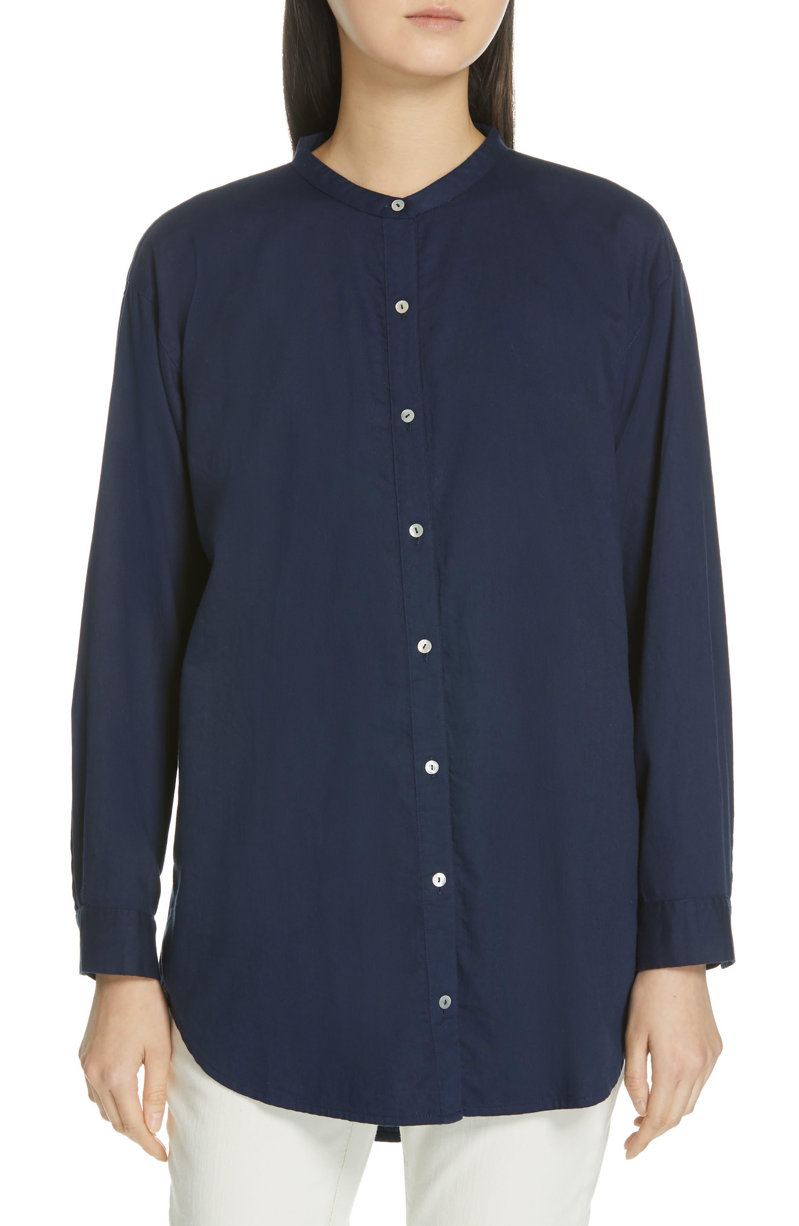 EILEEN FISHER Mandarin Collar Organic Cotton Tunic Shirt, Main, color, INDIGO
