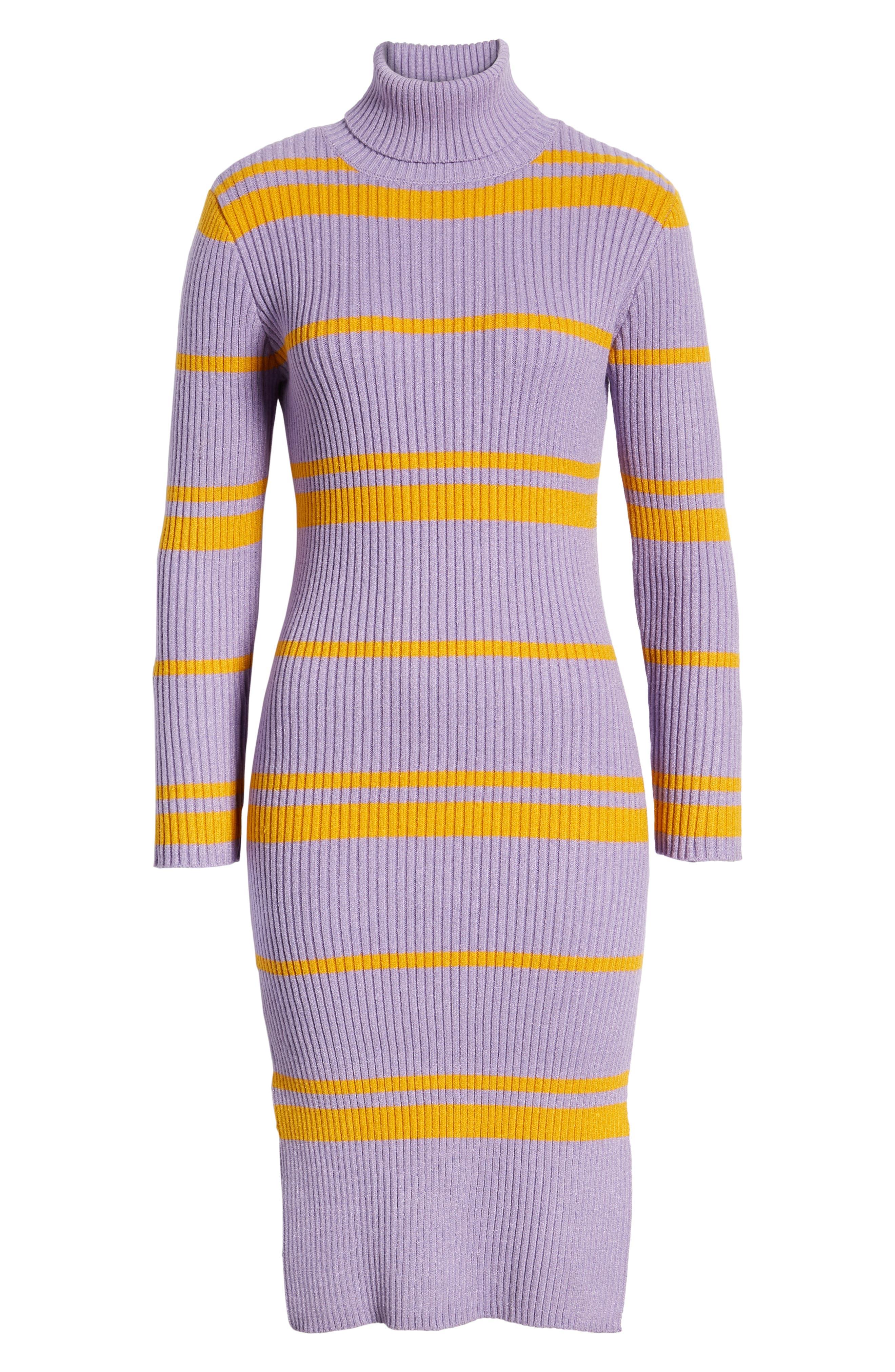 MOON RIVER, Stripe Turtleneck Sweater Dress, Alternate thumbnail 7, color, 500