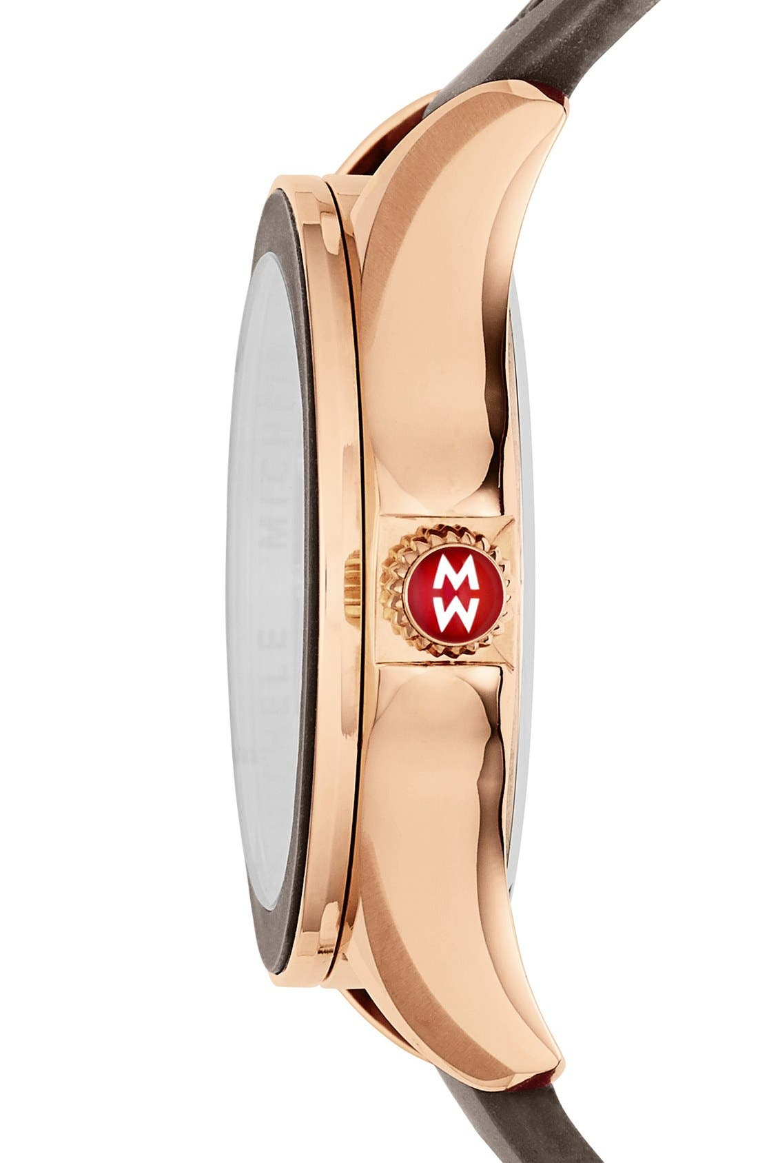 MICHELE, 'Cape' Topaz Dial Silicone Strap Watch, 40mm, Alternate thumbnail 3, color, 200
