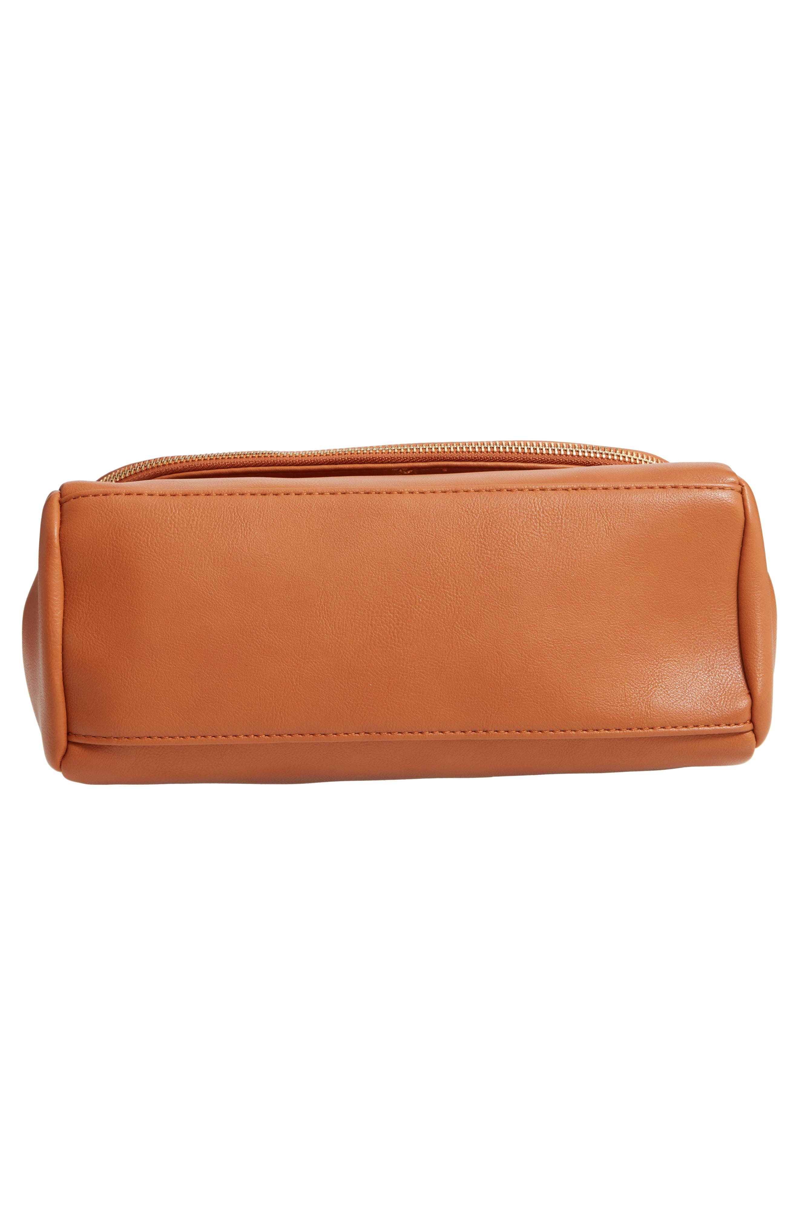 SOLE SOCIETY, Rubie Faux Leather Crossbody Bag, Alternate thumbnail 7, color, COGNAC