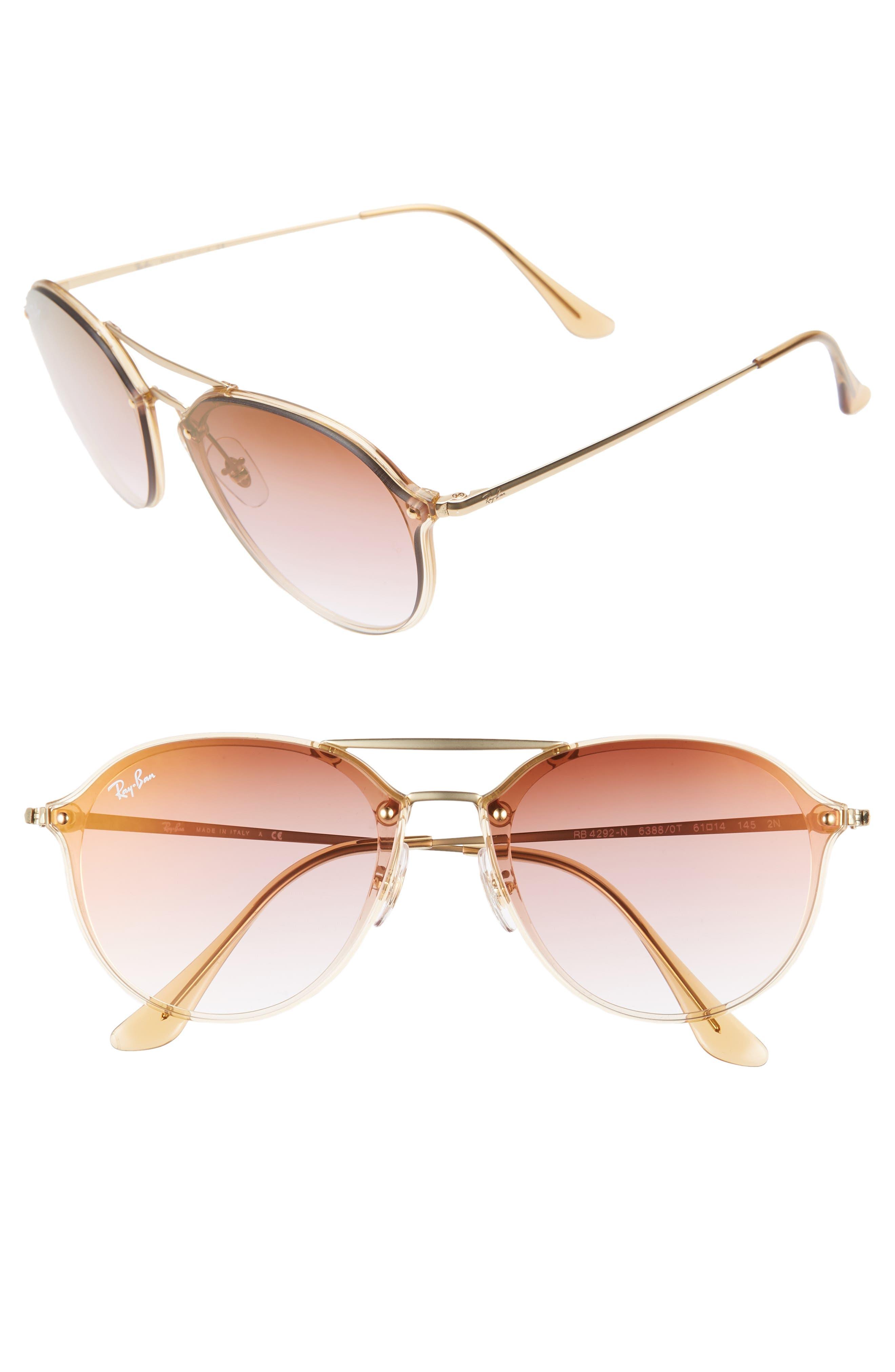 RAY-BAN, 61mm Gradient Aviator Sunglasses, Main thumbnail 1, color, GOLD/ BROWN GRADIENT