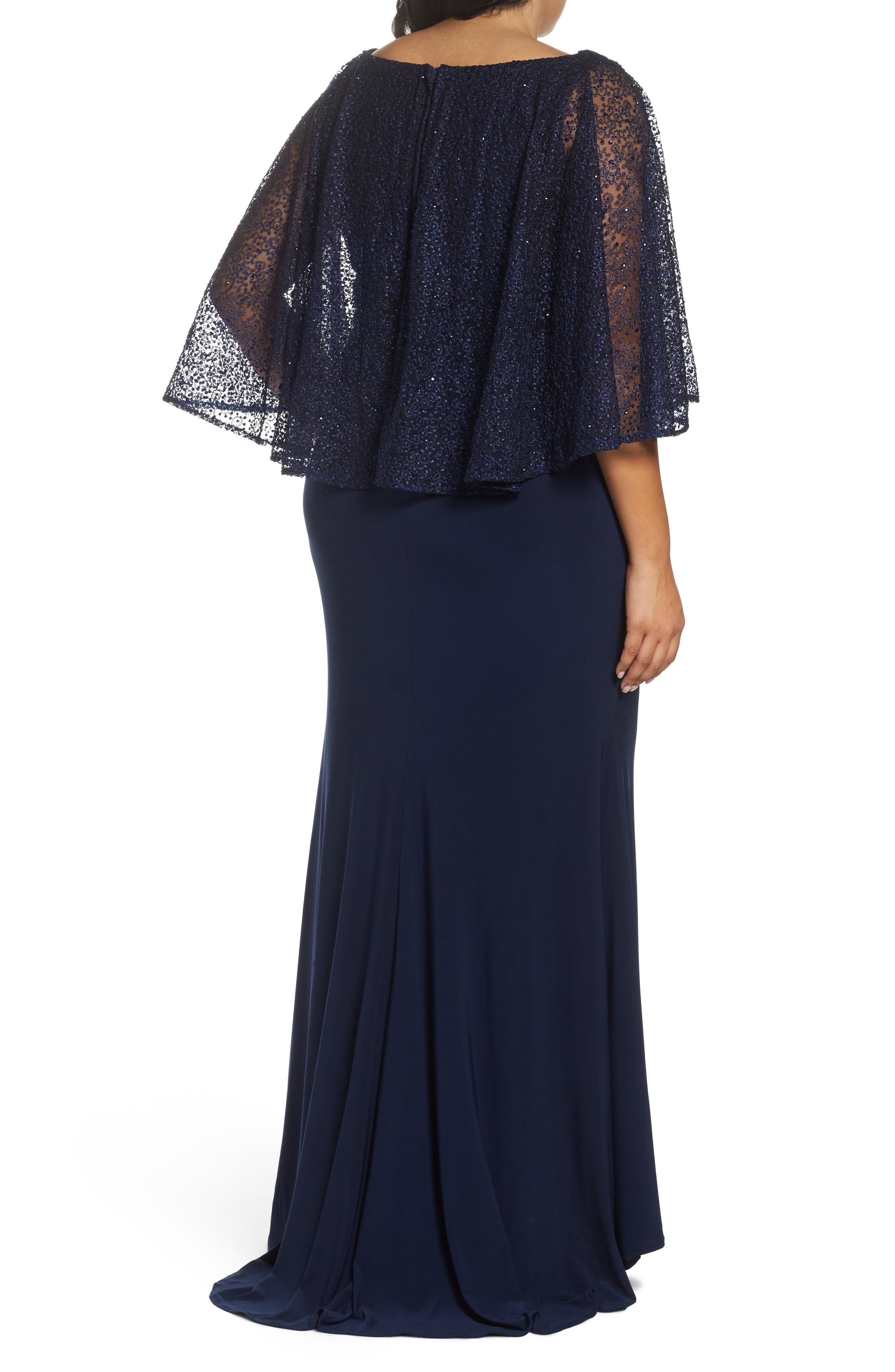 MAC DUGGAL, Lace Capelet Column Gown, Alternate thumbnail 2, color, MIDNIGHT