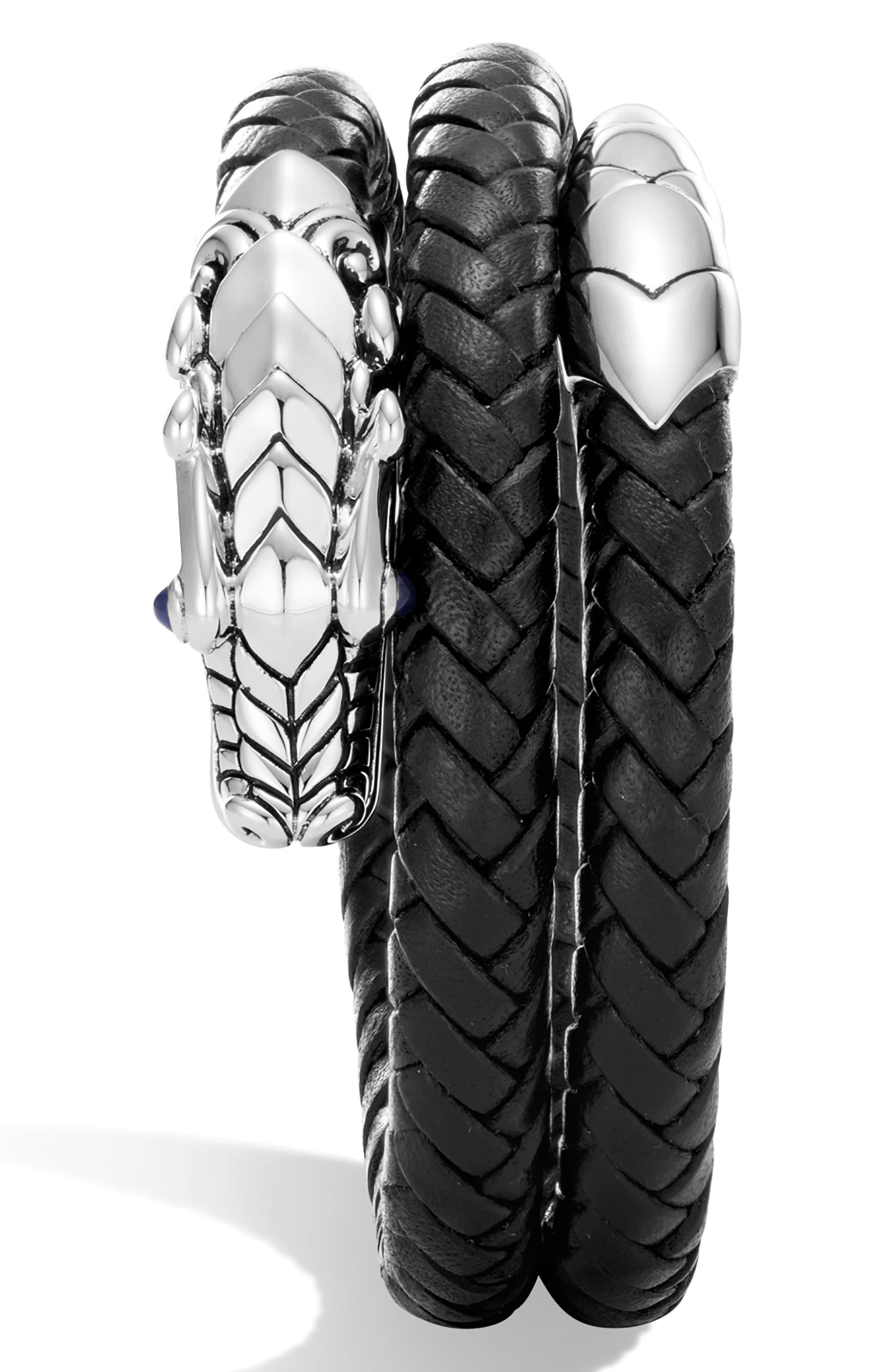 JOHN HARDY, Legends Naga Coiled Leather Bracelet, Alternate thumbnail 3, color, BLACK