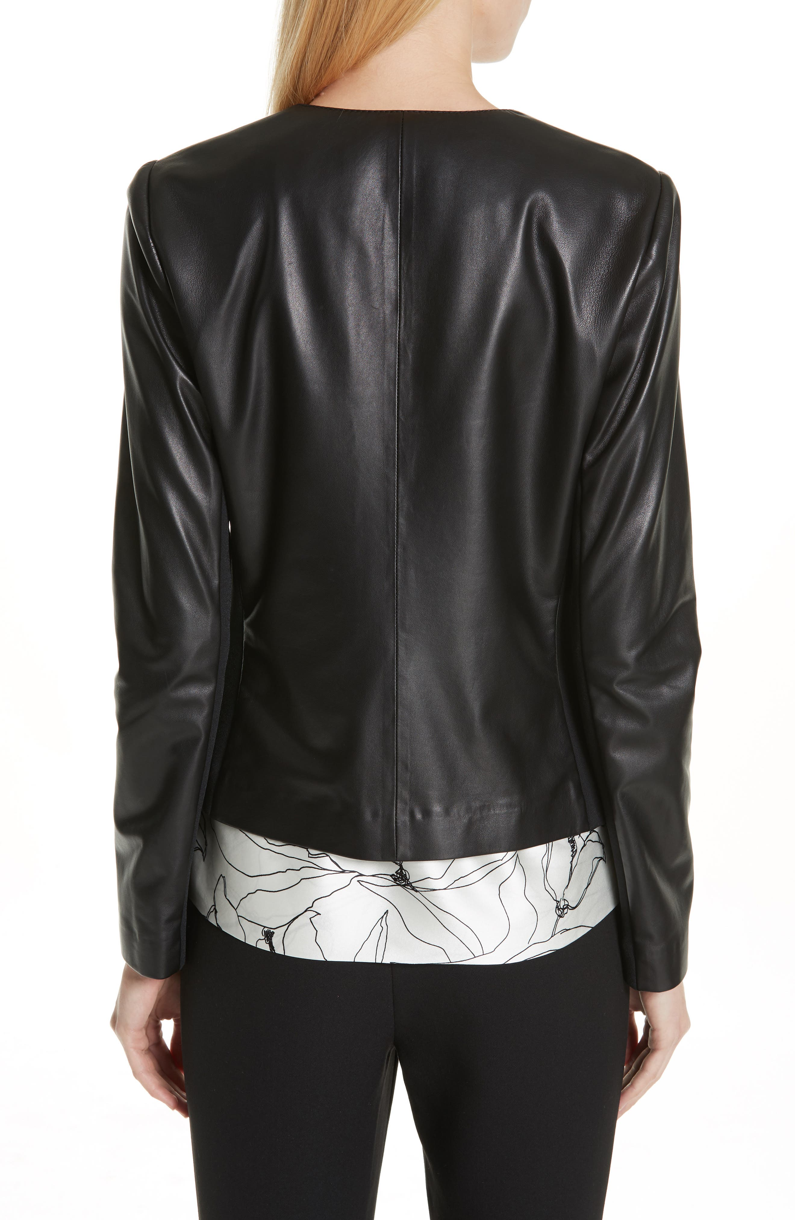 ST. JOHN COLLECTION, Luxe Nappa Leather Jacket, Alternate thumbnail 2, color, CAVIAR