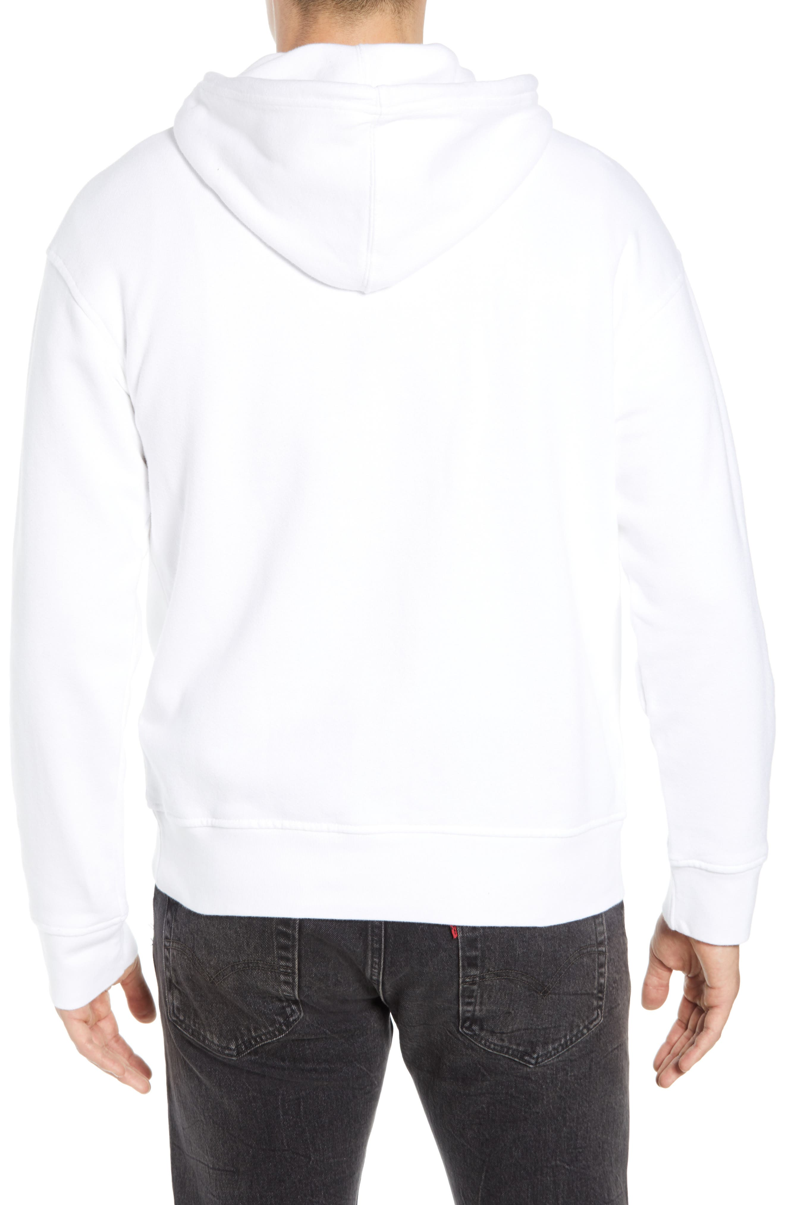 LEVI'S<SUP>®</SUP>, Oversize Logo Graphic Hoodie, Alternate thumbnail 2, color, WHITE HOUSEMARK
