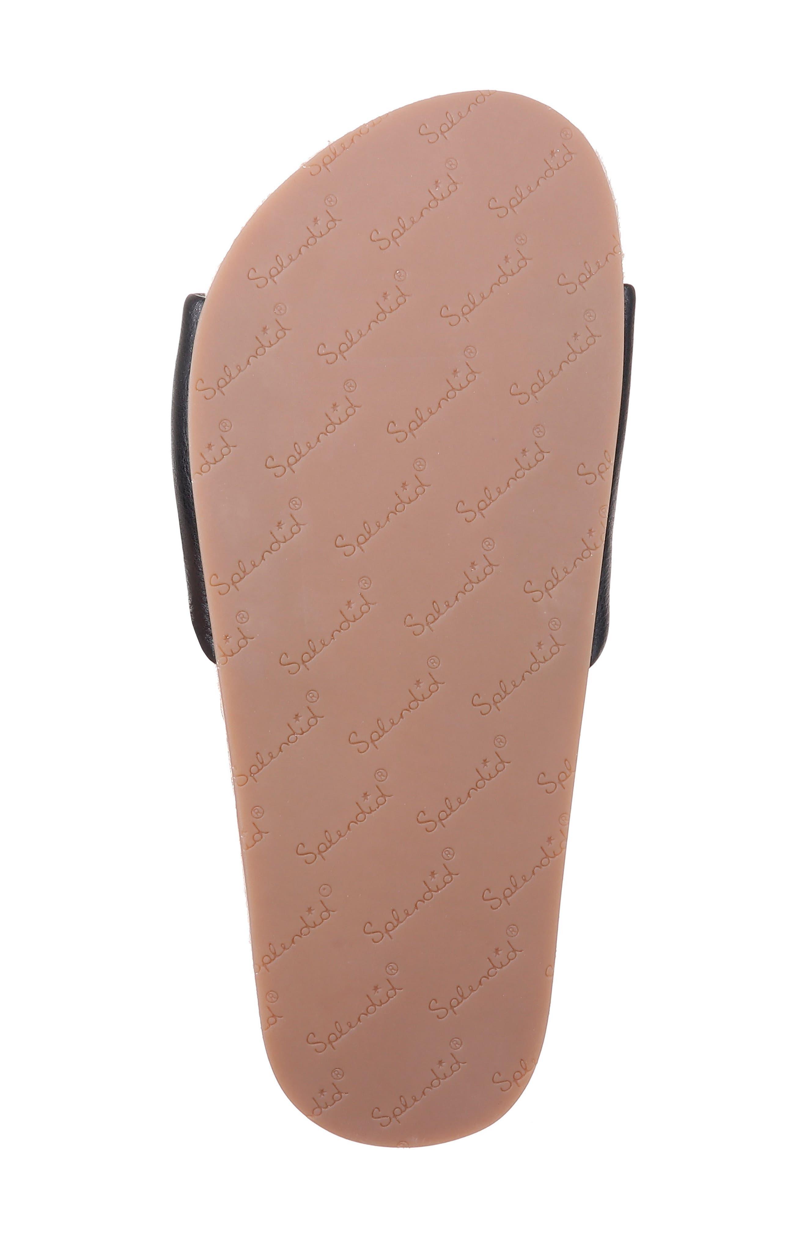SPLENDID, Sandford Espadrille Slide Sandal, Alternate thumbnail 6, color, BLACK LEATHER