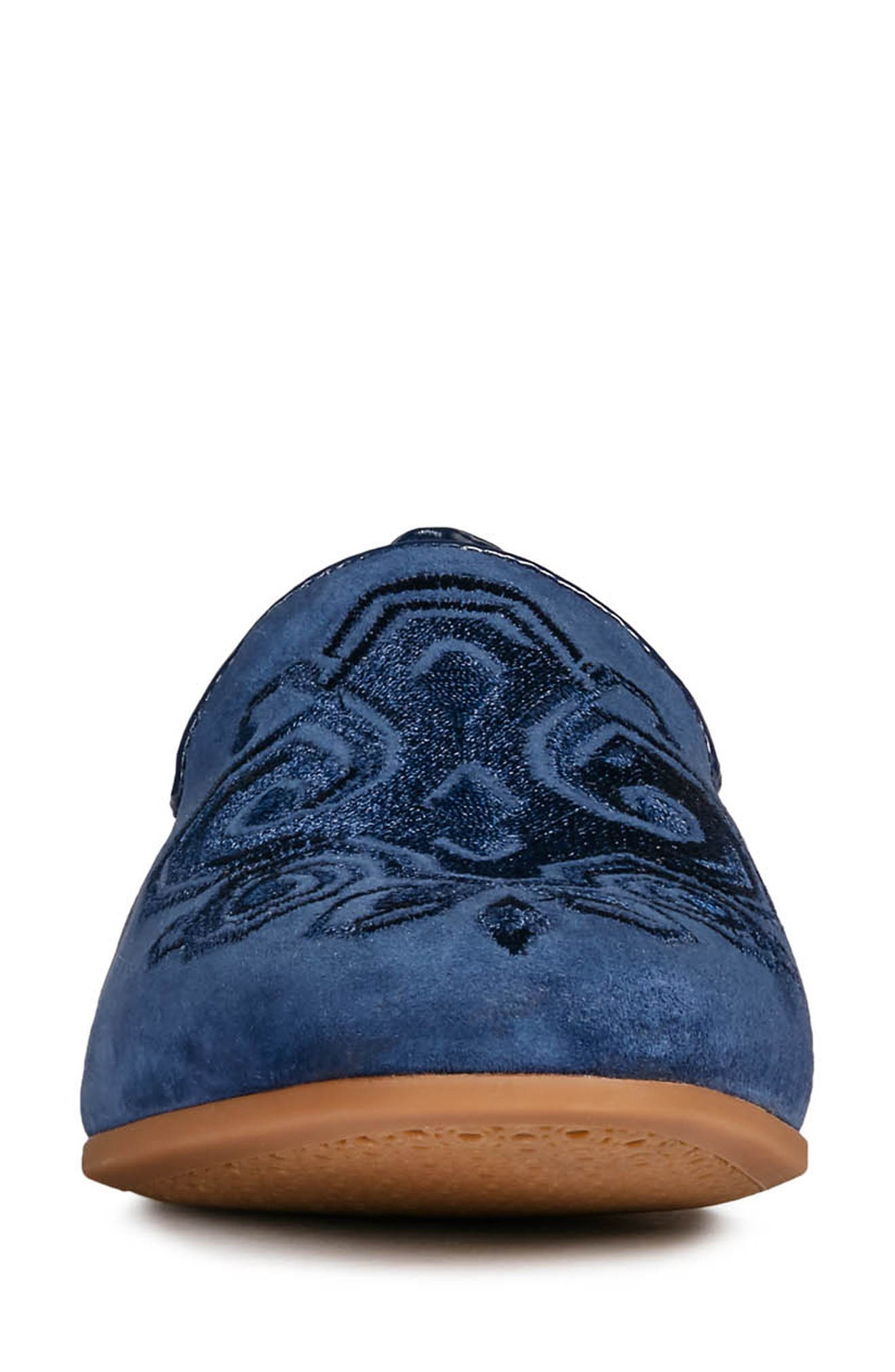 GEOX, Marlyna Loafer, Alternate thumbnail 4, color, BLUE SUEDE