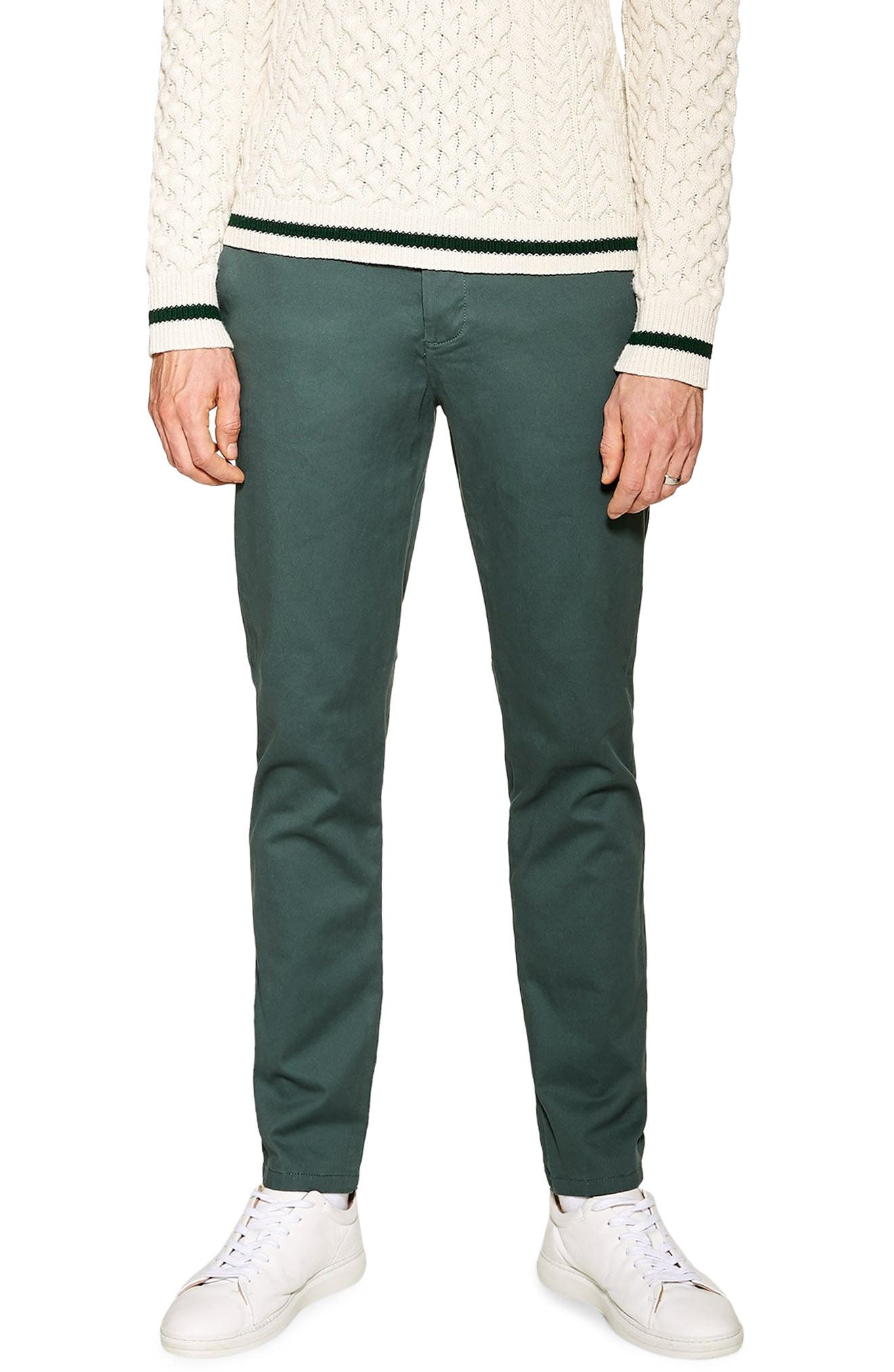 TOPMAN, Stretch Skinny Fit Chinos, Main thumbnail 1, color, GREEN