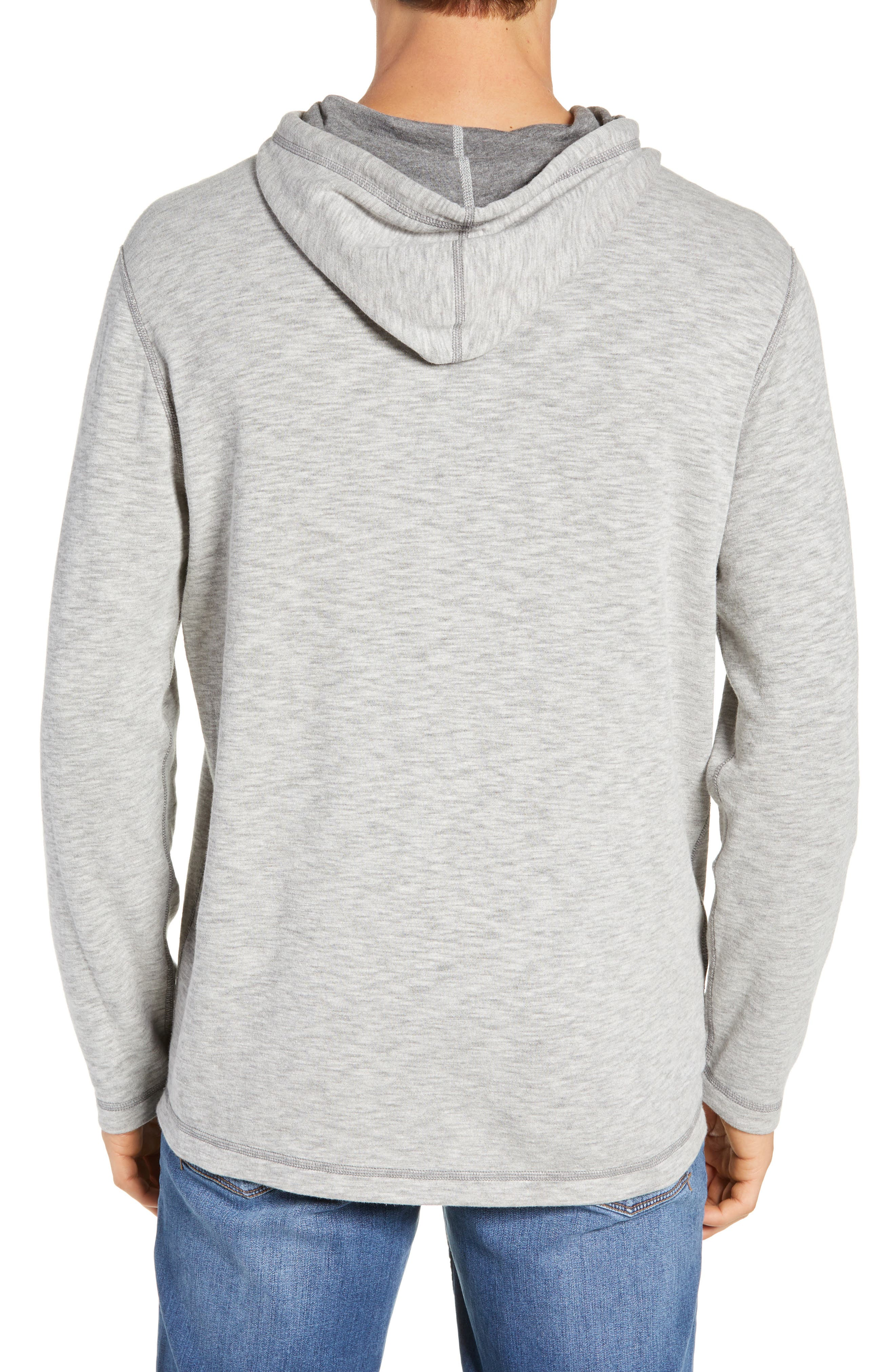 TOMMY BAHAMA, Sea Glass Classic Fit Reversible Hoodie, Alternate thumbnail 3, color, BLACK