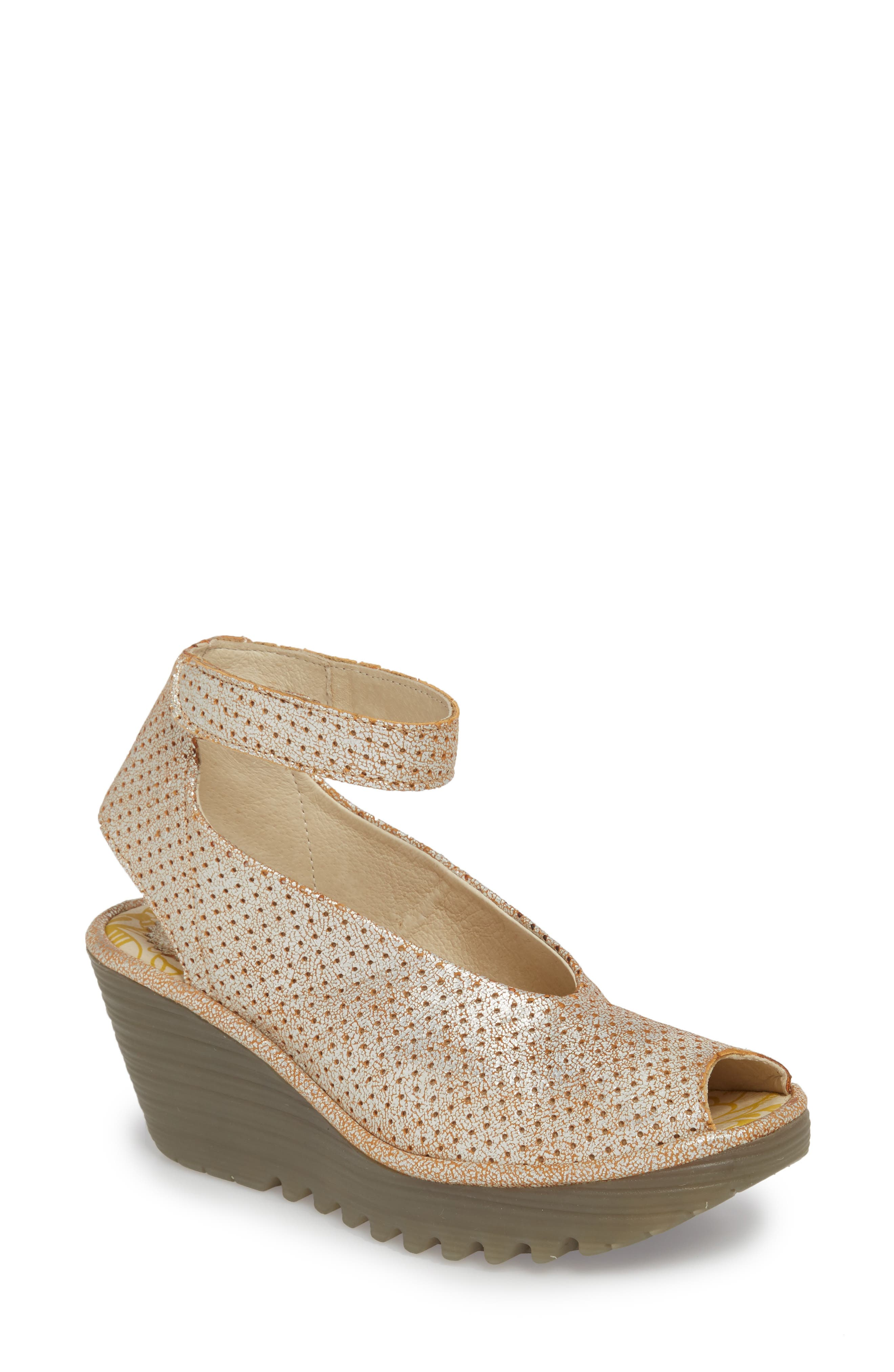 FLY LONDON 'Yala' Perforated Leather Sandal, Main, color, PEARL COOL LEATHER