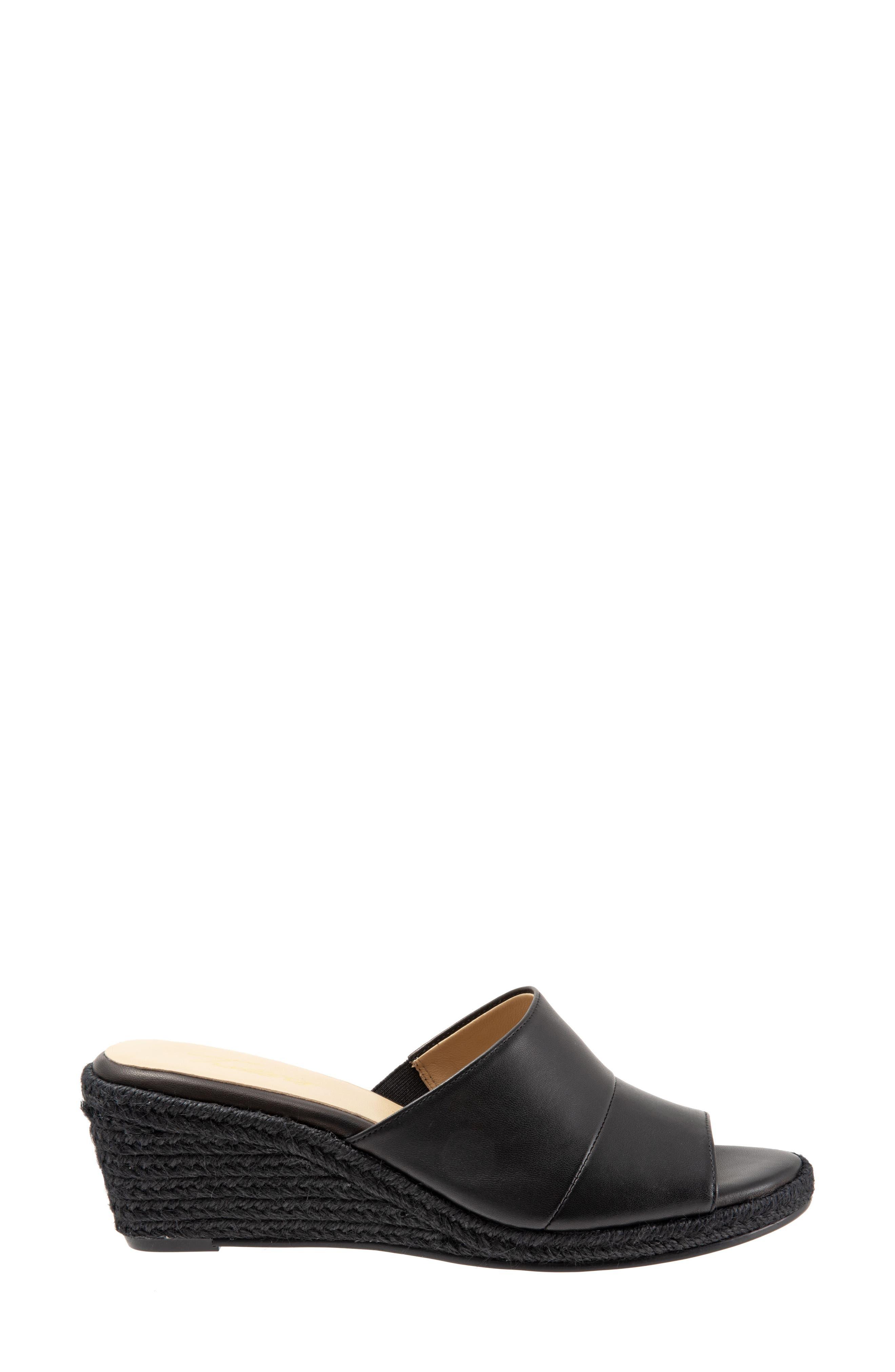 TROTTERS, Colony Wedge Slide Sandal, Alternate thumbnail 3, color, BLACK LEATHER