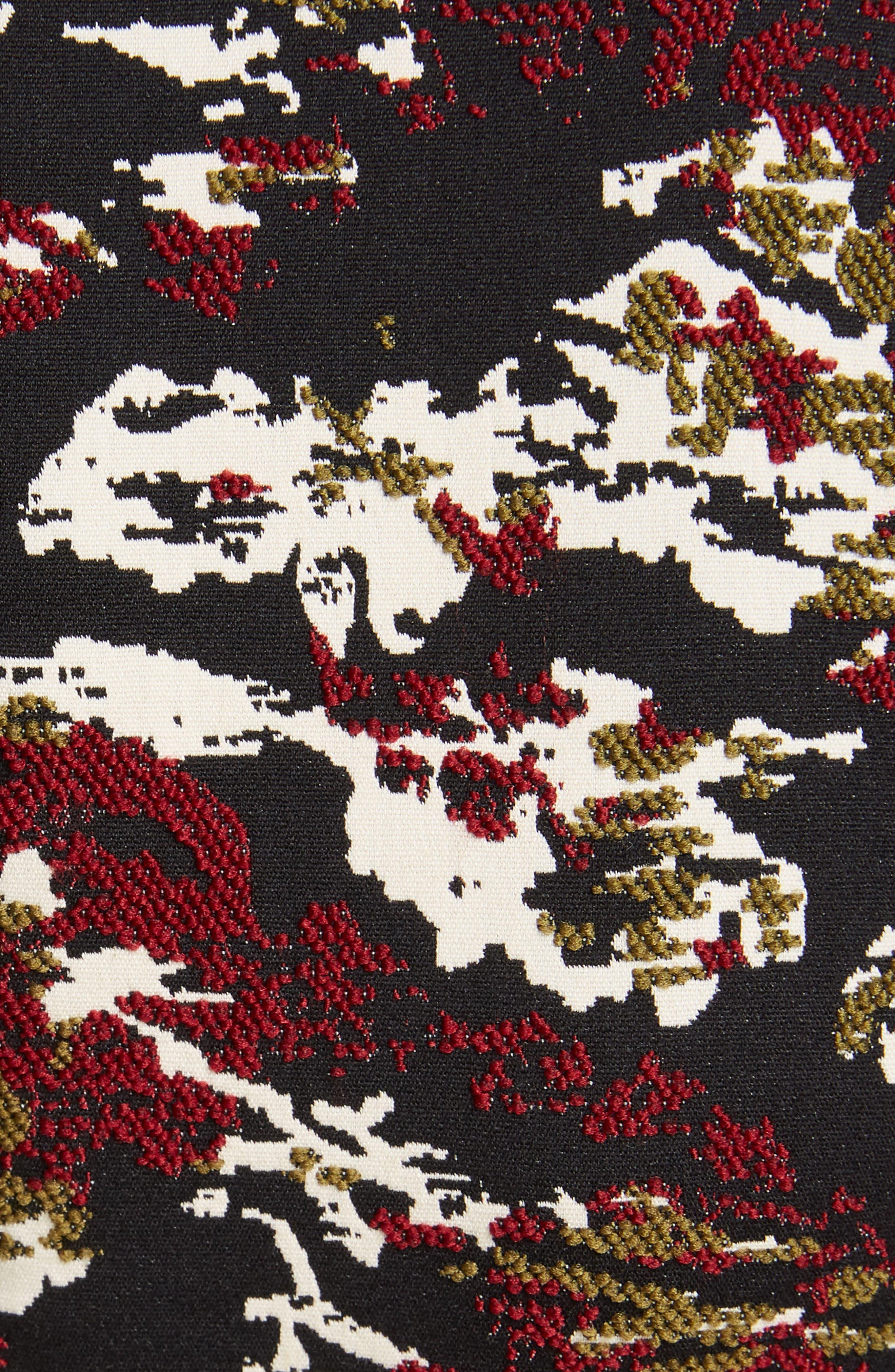 VICTORIA BECKHAM, Camouflage Jacquard Dress, Alternate thumbnail 5, color, BORDEAUX-BLACK