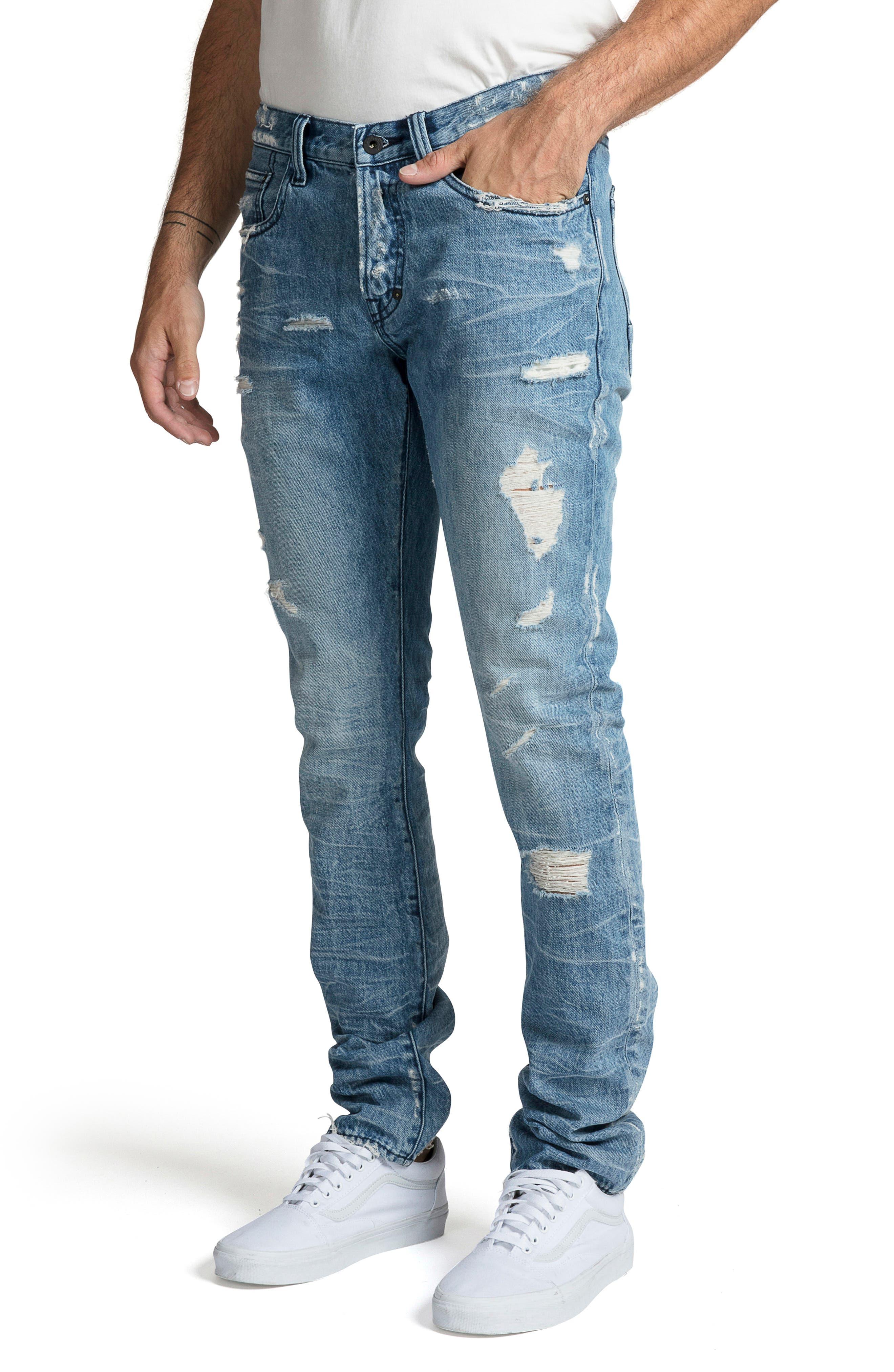 PRPS, Le Sabre Slim Fit Jeans, Alternate thumbnail 3, color, BLUE