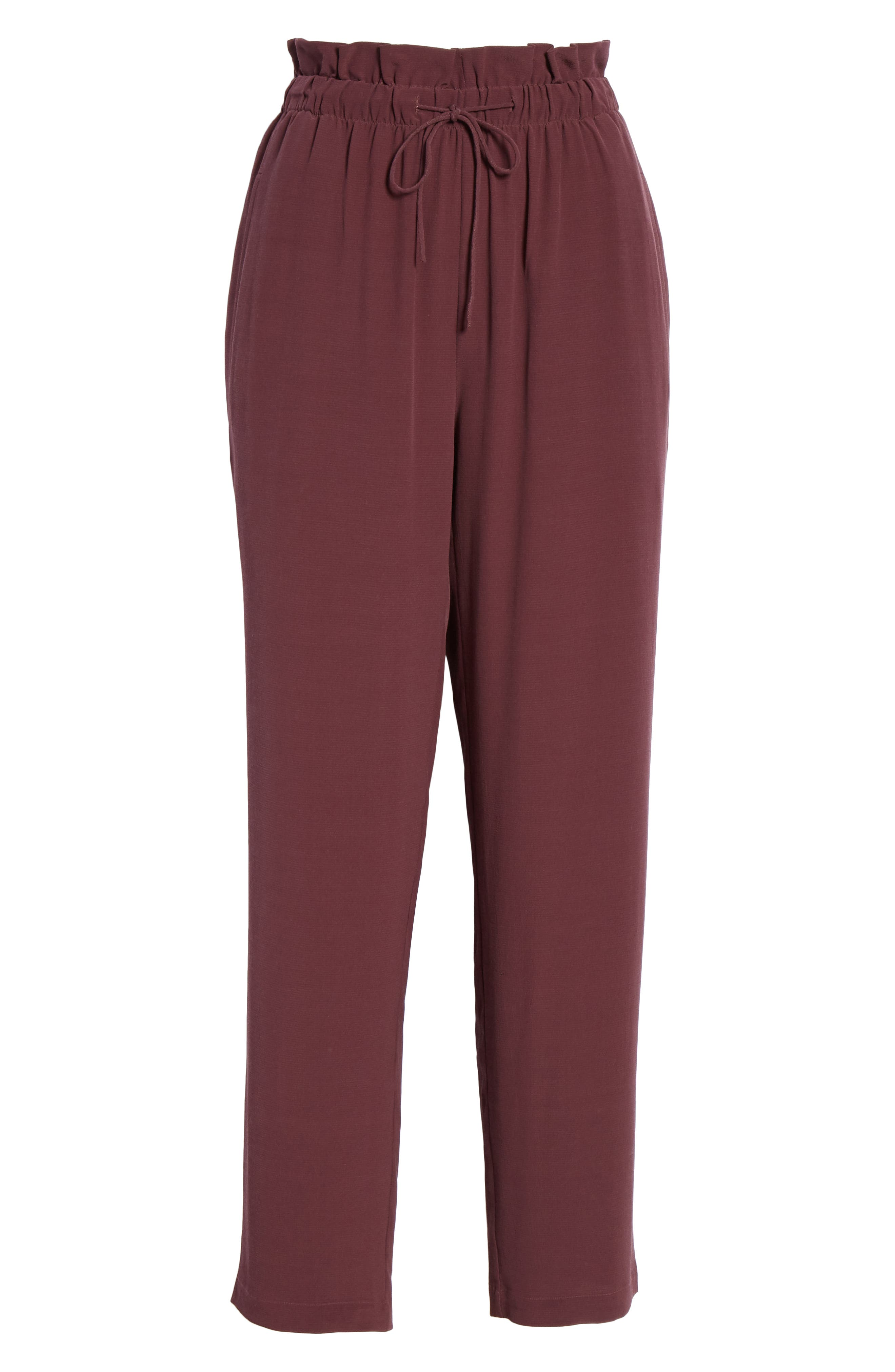 EILEEN FISHER, Crepe Pants, Alternate thumbnail 7, color, CASSIS