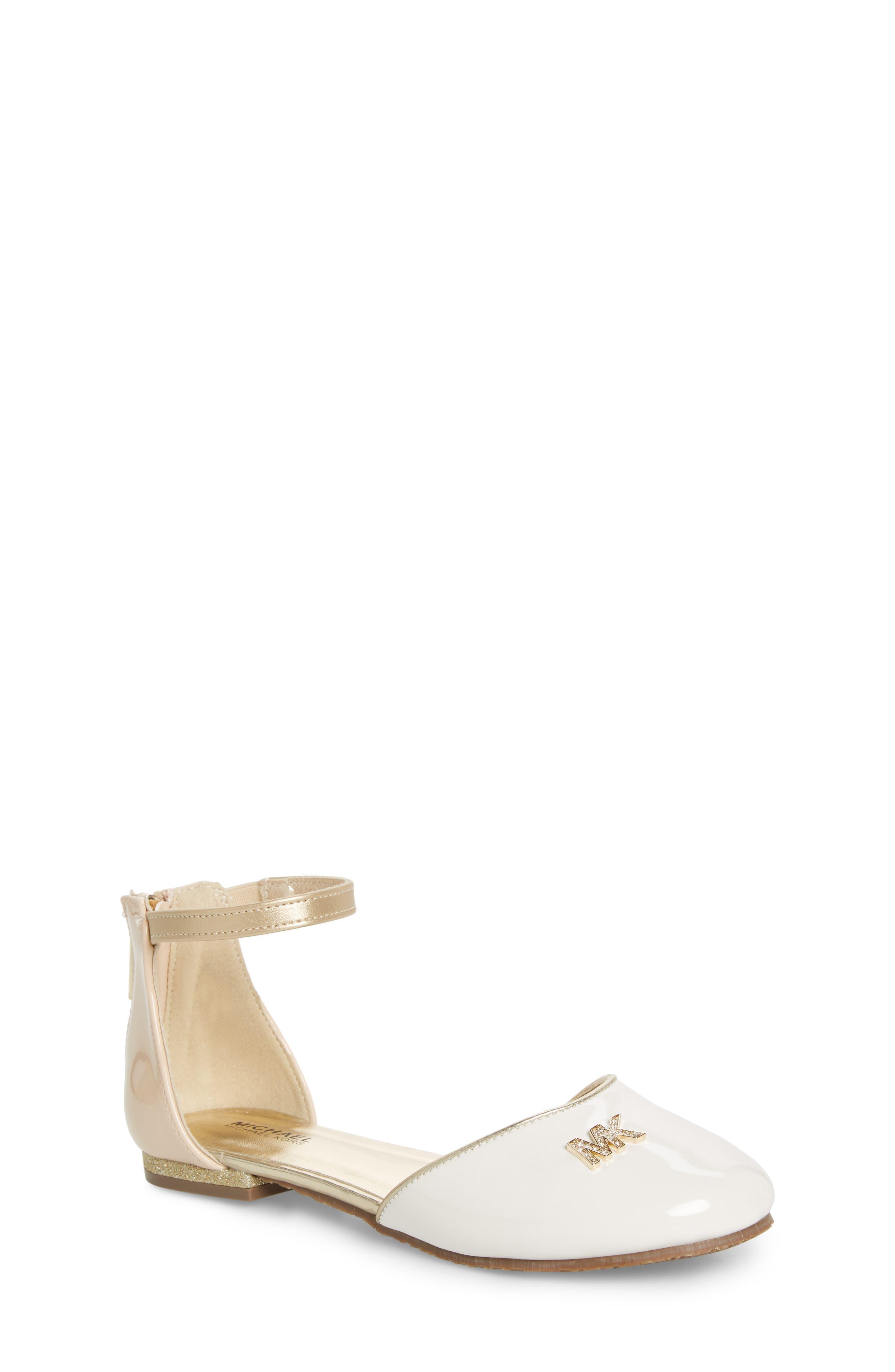 MICHAEL MICHAEL KORS, Kitten Kaisa Glitter Heel Sandal, Main thumbnail 1, color, GOLD MULTI