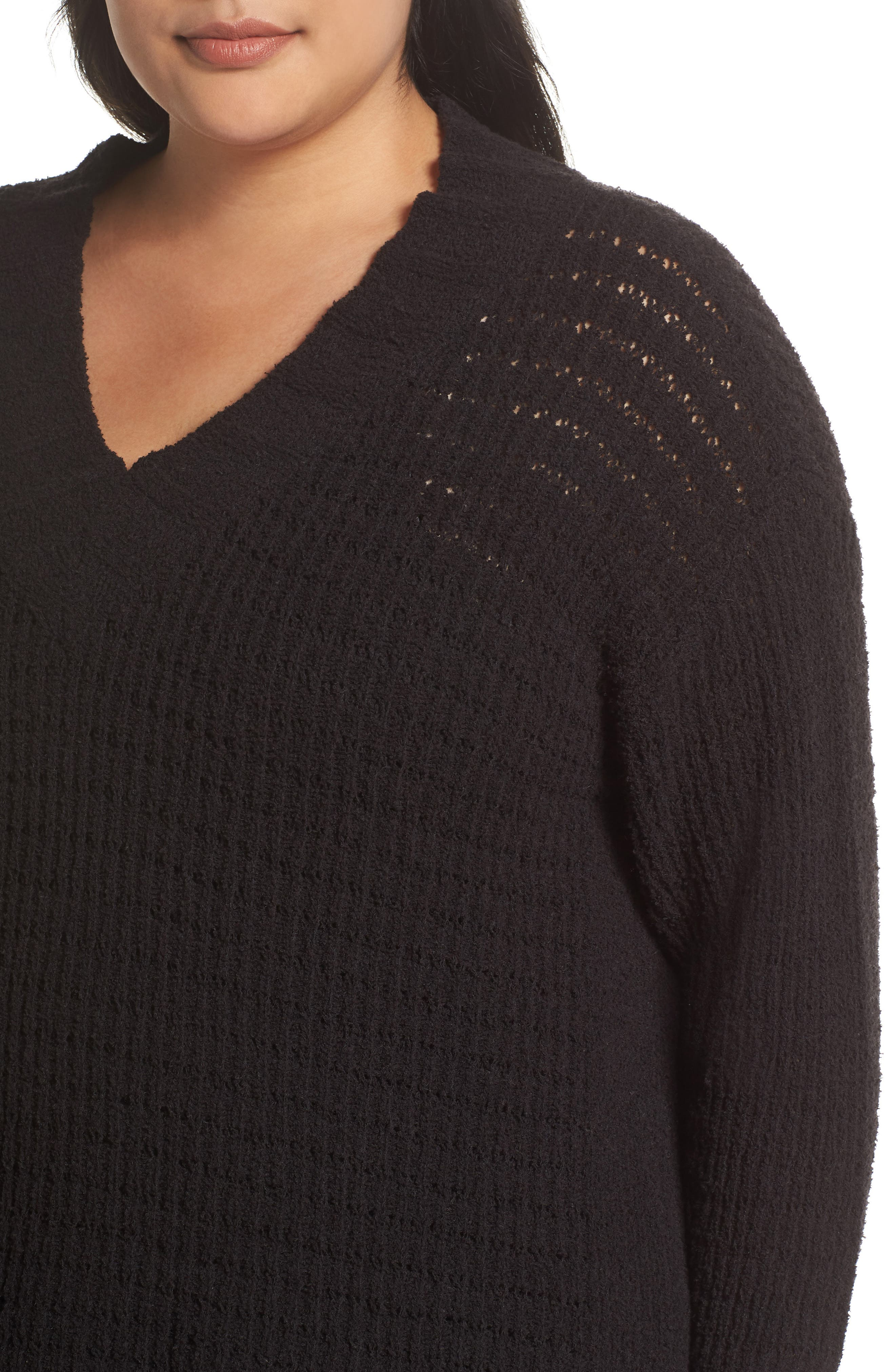 CASLON<SUP>®</SUP>, Tuck Stitch Sweater, Alternate thumbnail 4, color, BLACK