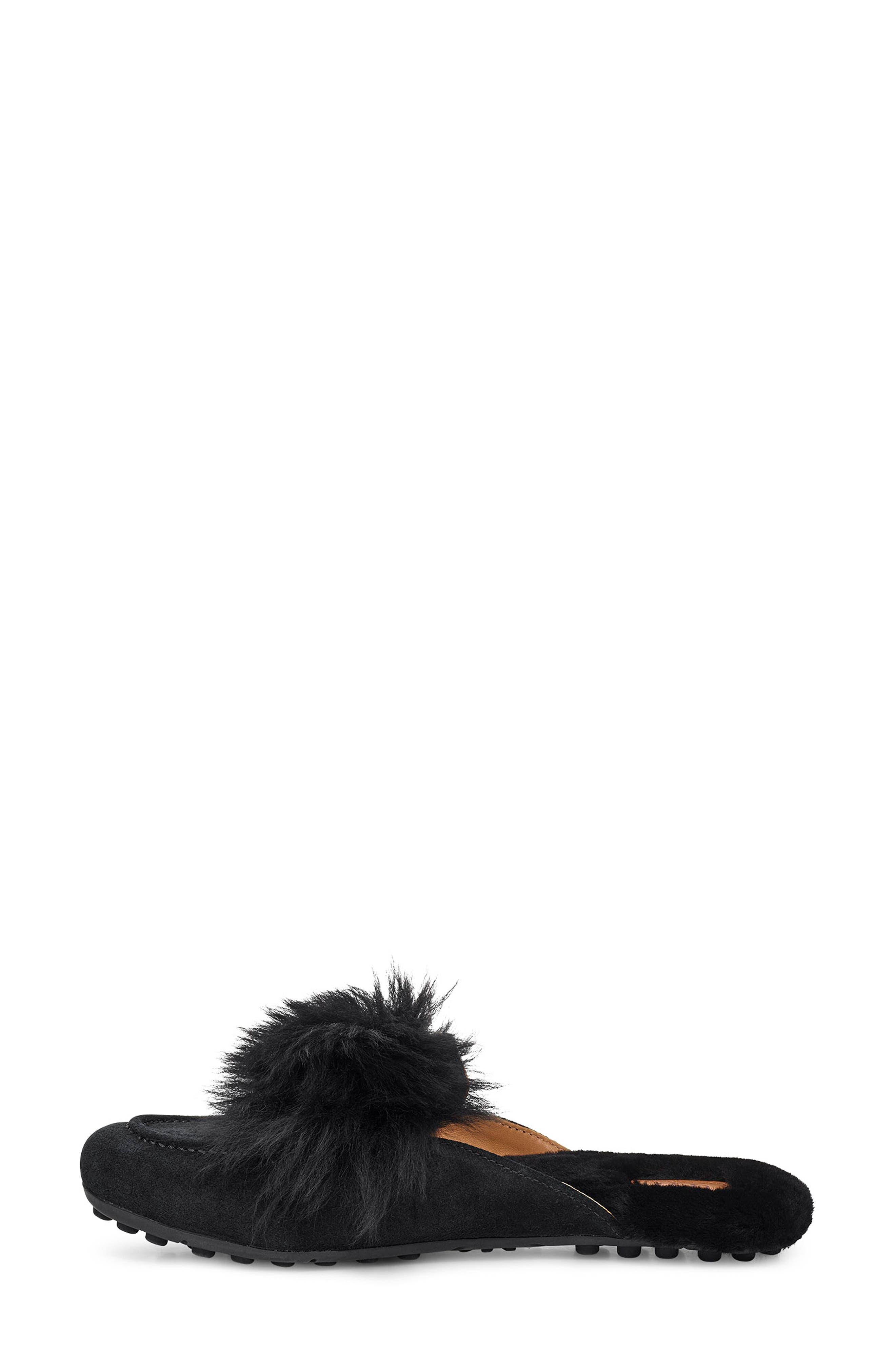 UGG<SUP>®</SUP>, Shaine Wisp Genuine Shearling Slipper, Alternate thumbnail 7, color, BLACK