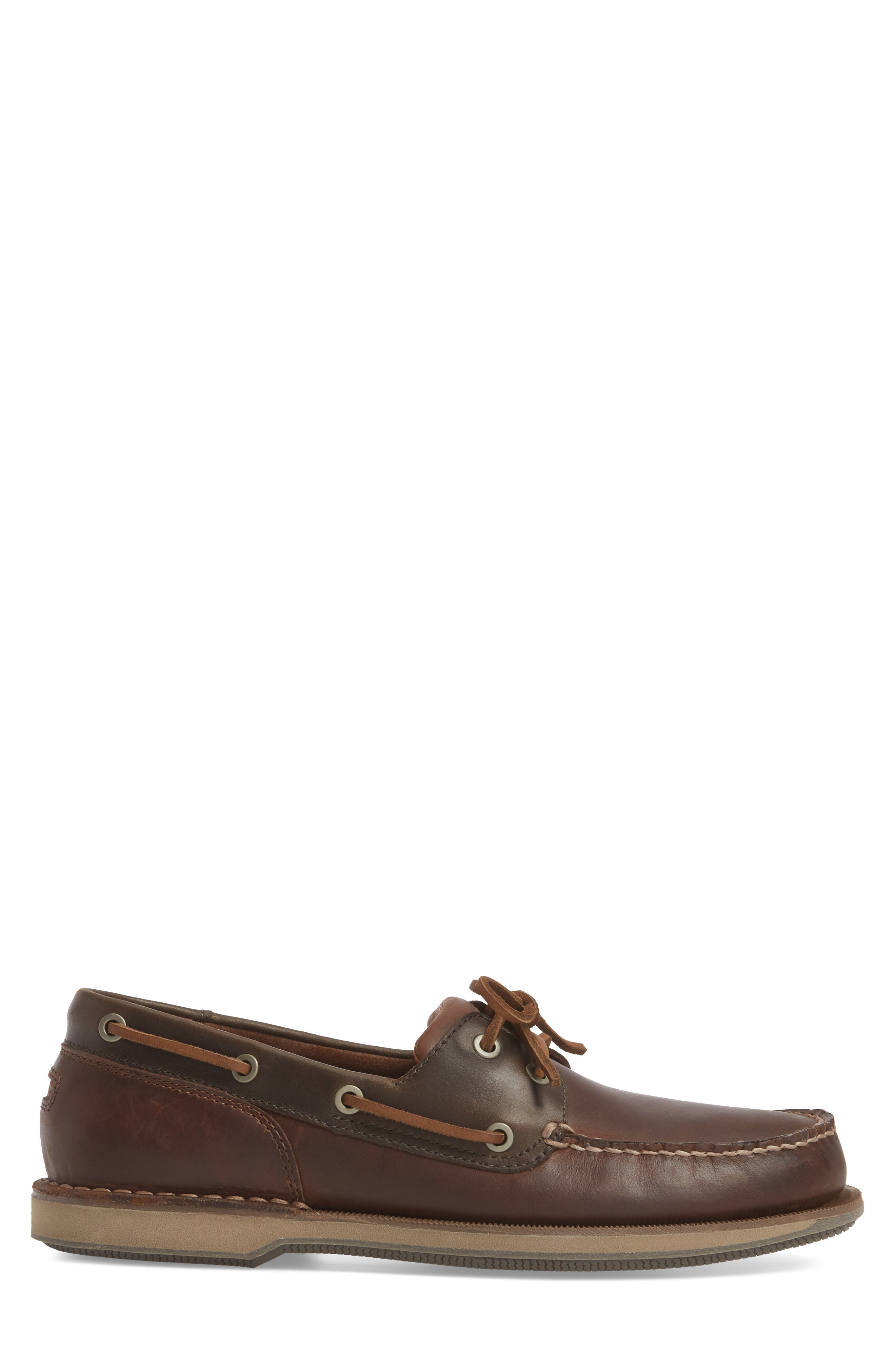 ROCKPORT, 'Perth' Boat Shoe, Alternate thumbnail 3, color, DARK BROWN LEATHER