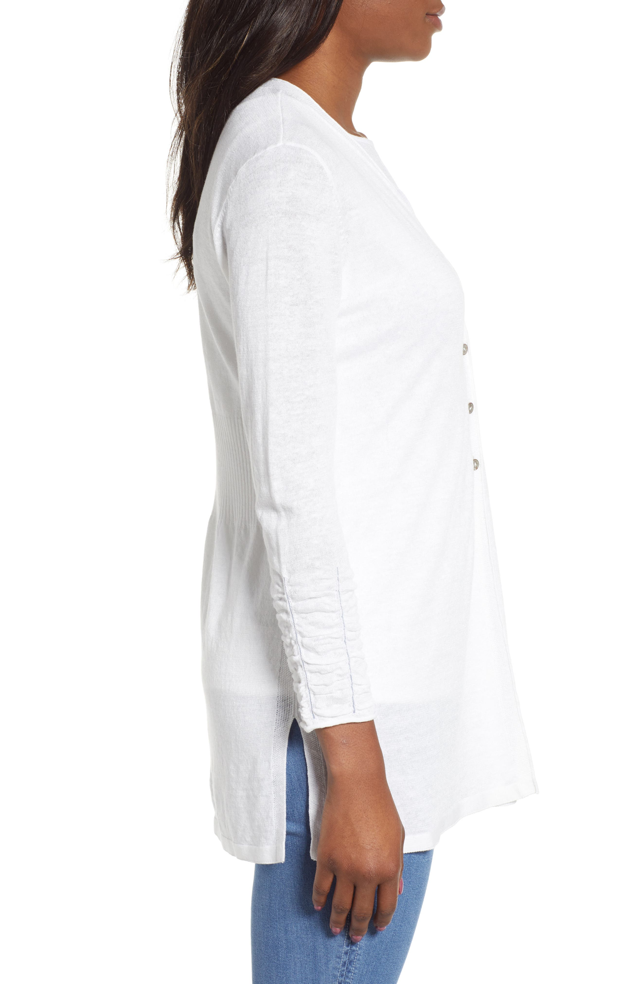 NIC+ZOE, Ruched Sleeve Cardigan, Alternate thumbnail 3, color, PAPER WHITE