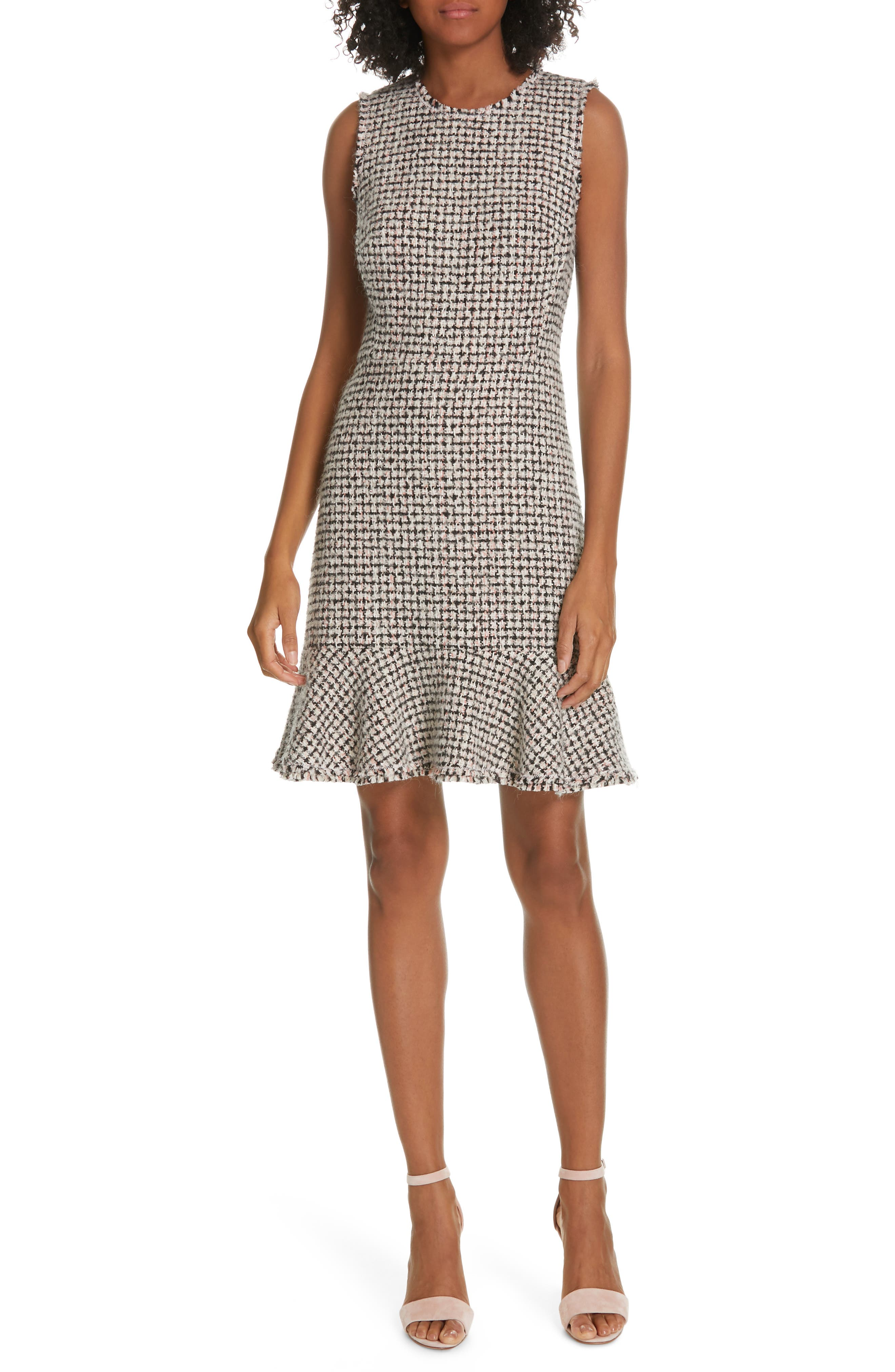 REBECCA TAYLOR Houndstooth Tweed Dress, Main, color, BLACK/ PINK COMBO