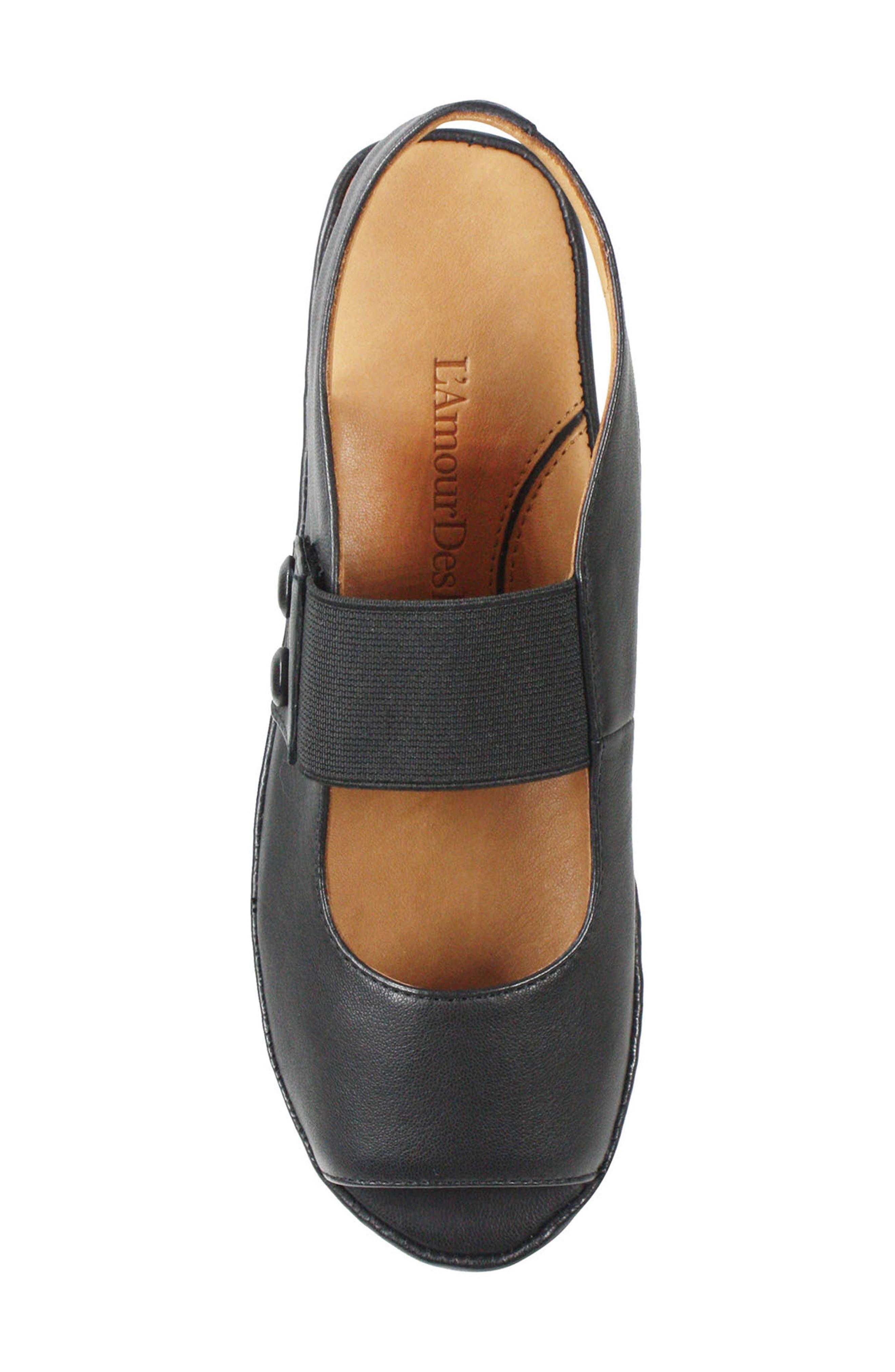 L'AMOUR DES PIEDS, Adalicia Platform Sandal, Alternate thumbnail 5, color, BLACK LEATHER
