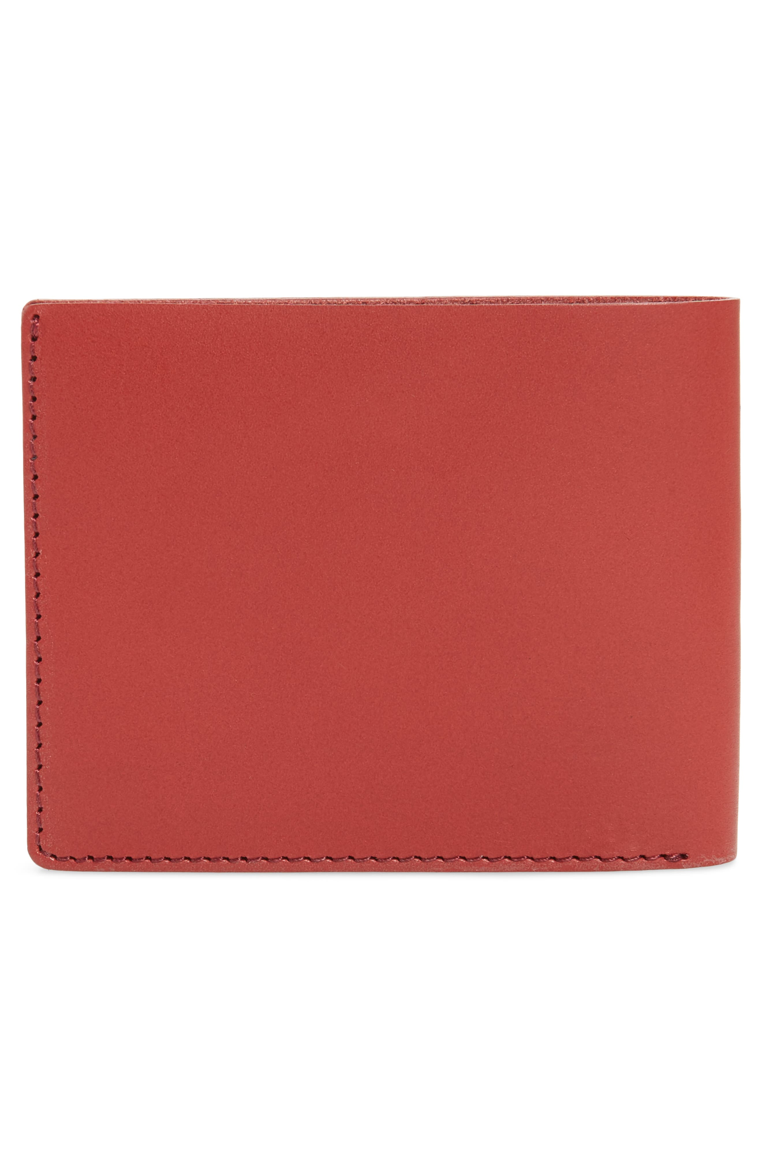 SATURDAYS NYC, Bifold Leather Wallet, Alternate thumbnail 3, color, TRUE RED