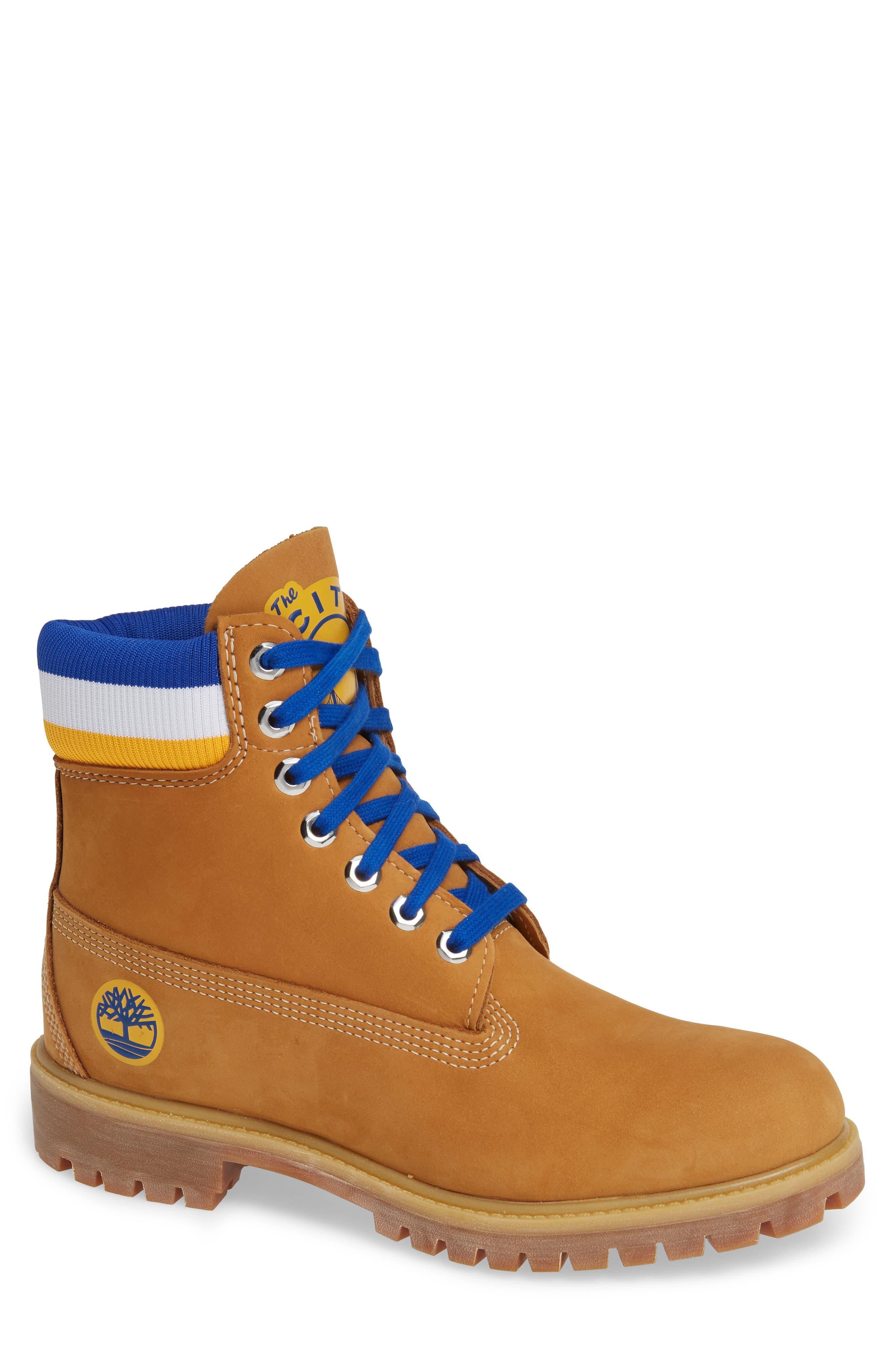 TIMBERLAND, Premium NBA Collection Boot, Main thumbnail 1, color, WHEAT NUBUCK/ GOLDEN STATE