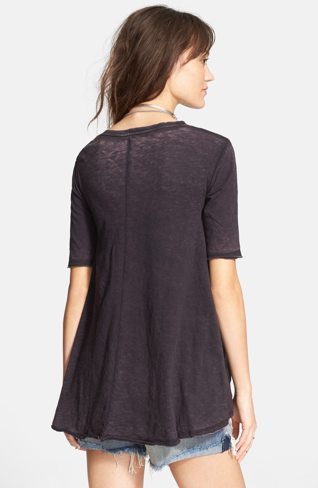 FREE PEOPLE, 'Melrose' Peplum Hem Tee, Alternate thumbnail 3, color, 001