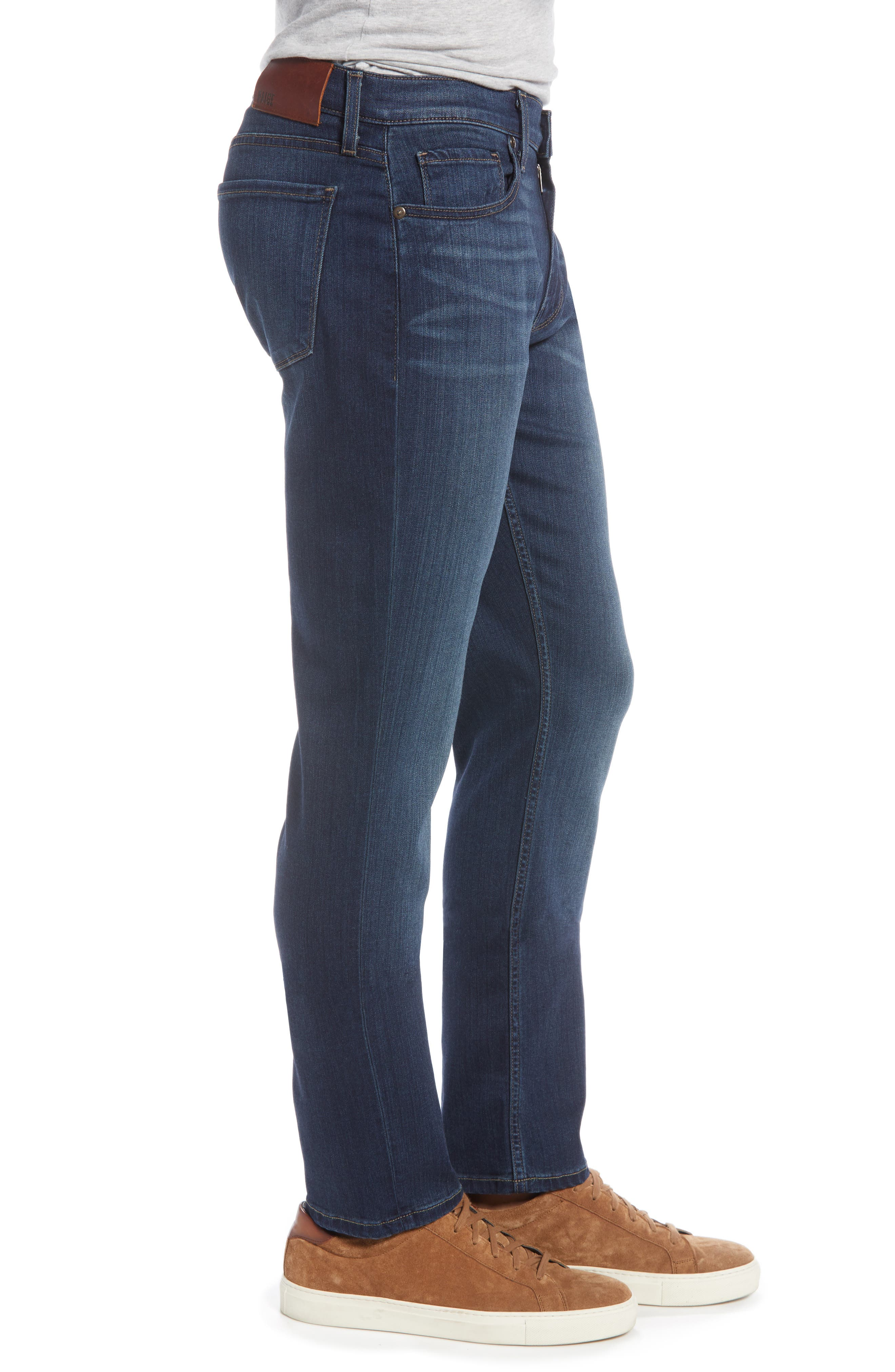 PAIGE, 'Federal' Slim Straight Leg Jeans, Alternate thumbnail 5, color, BLAKELY