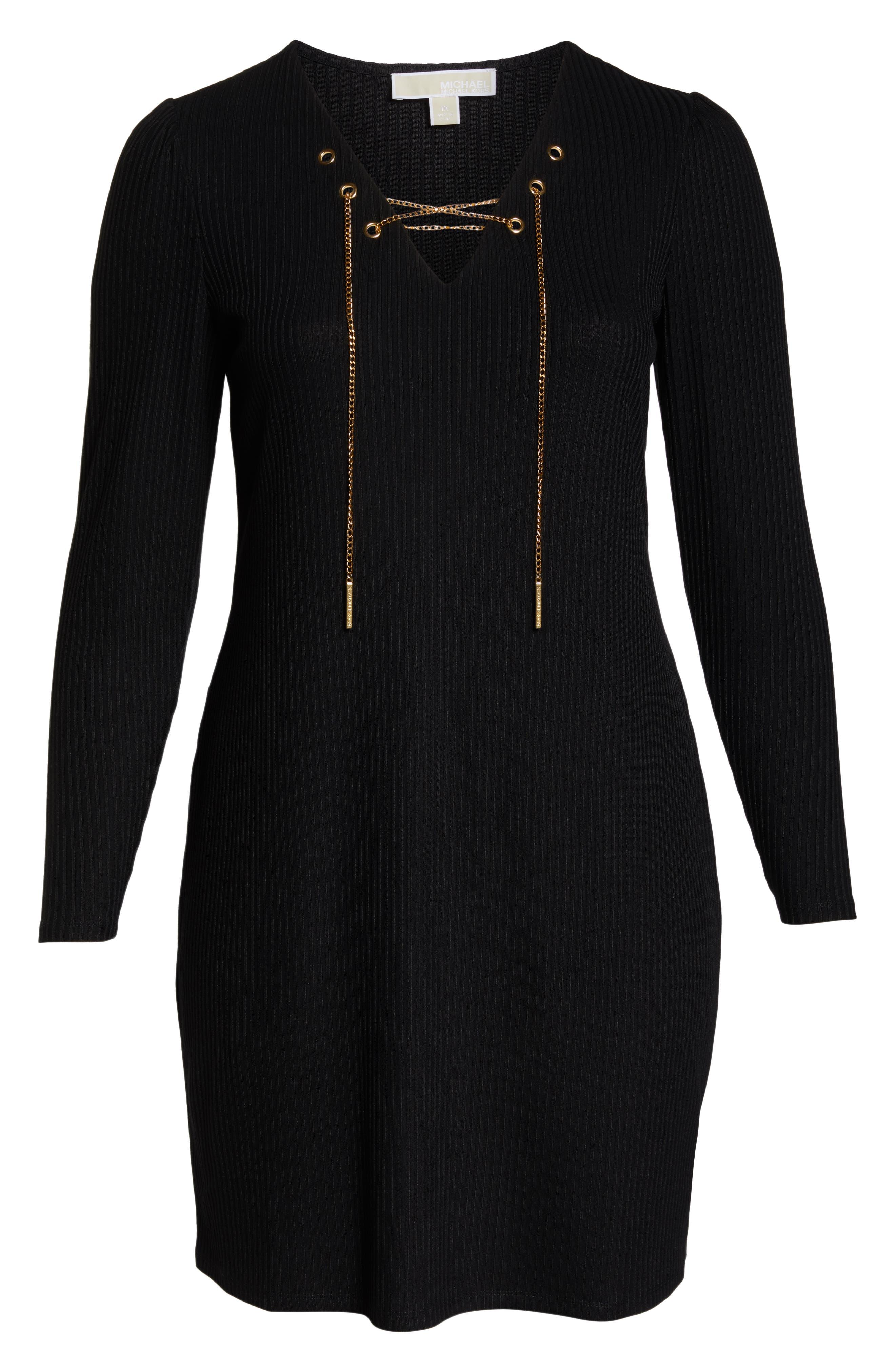 MICHAEL MICHAEL KORS, Chain Lace-Up V-Neck Sweater Dress, Alternate thumbnail 7, color, 001