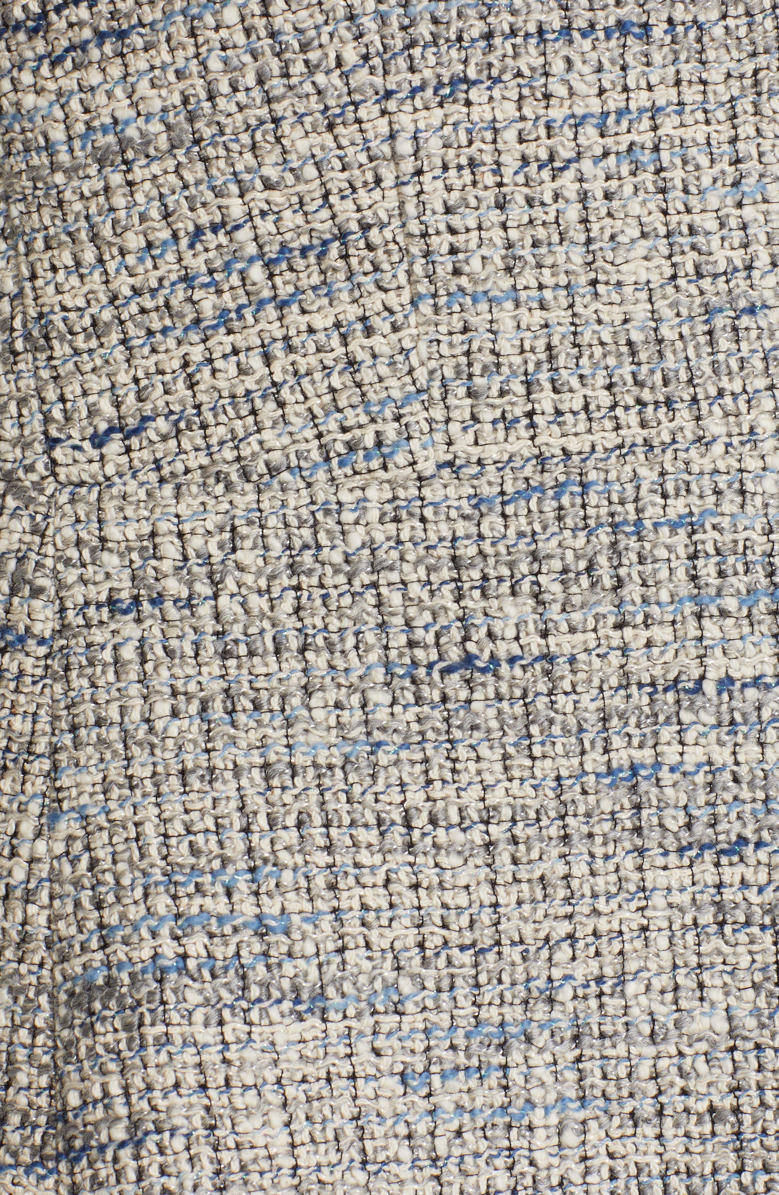 REBECCA TAYLOR, Tweed Peplum Jacket, Alternate thumbnail 7, color, BLUE/ GREY COMBO