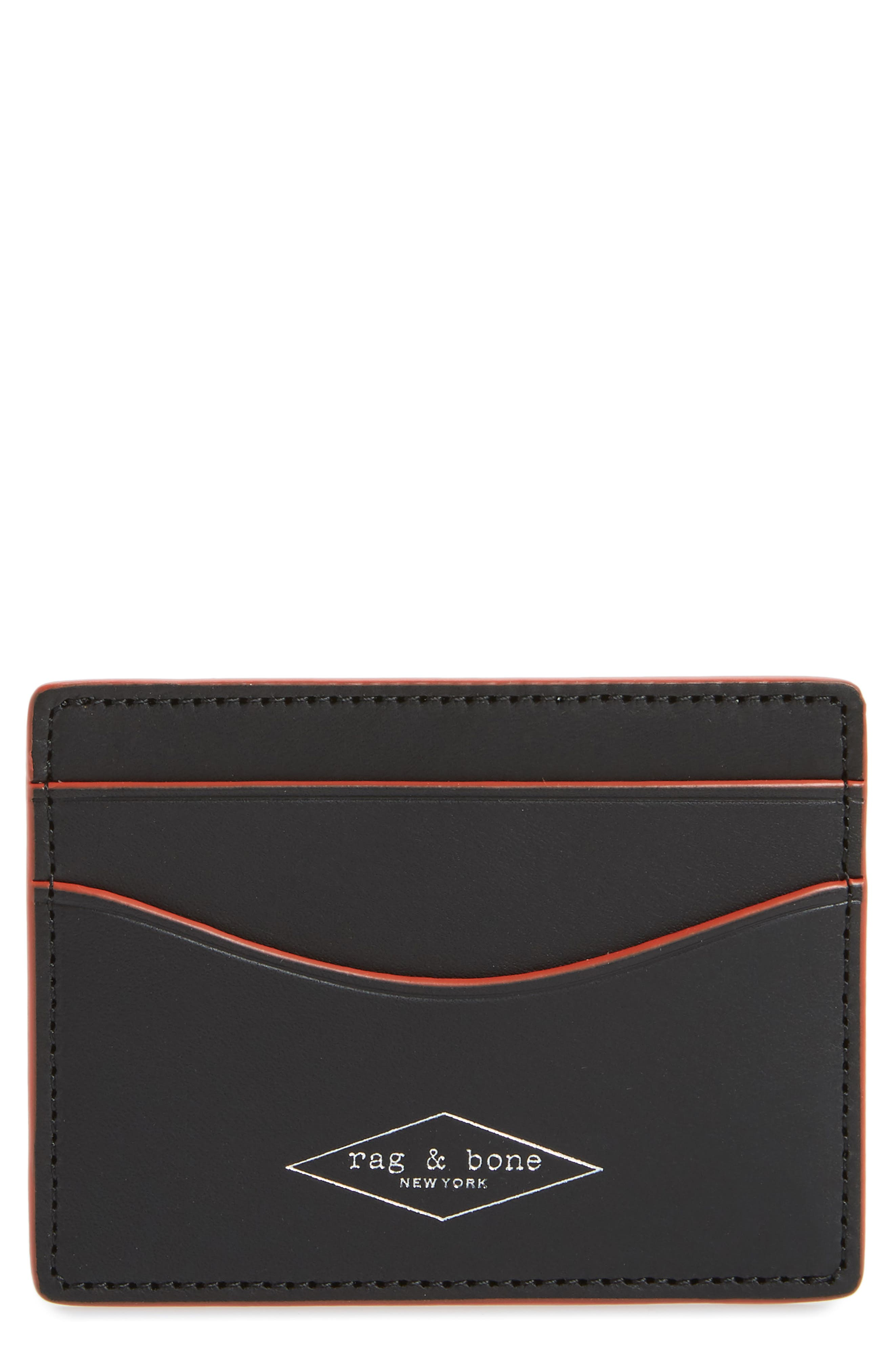 RAG & BONE Hampshire Leather Card Case, Main, color, BLACK COMBO